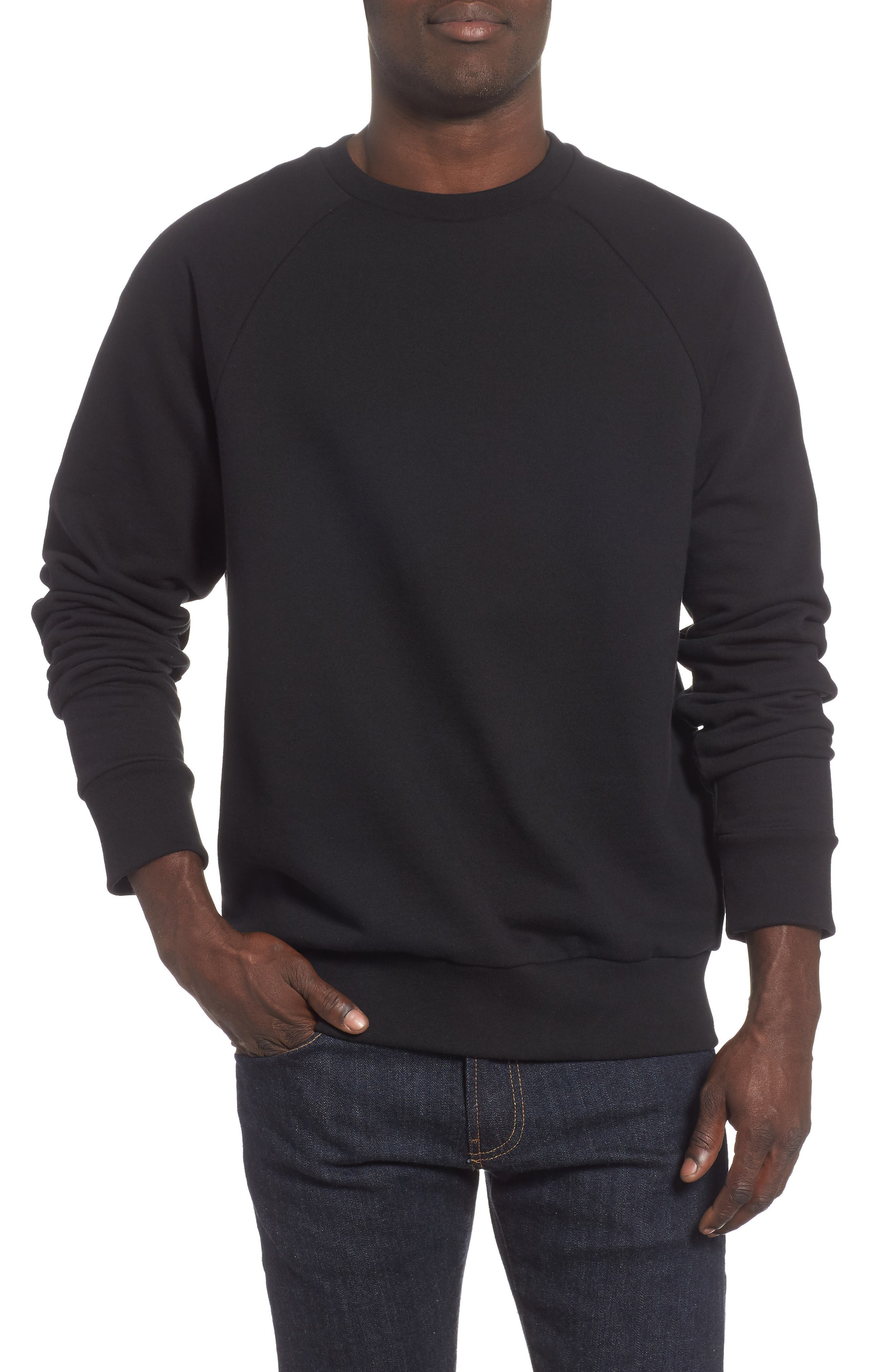 Core Fleece Crewneck,                             Main thumbnail 1, color,                             BLACK
