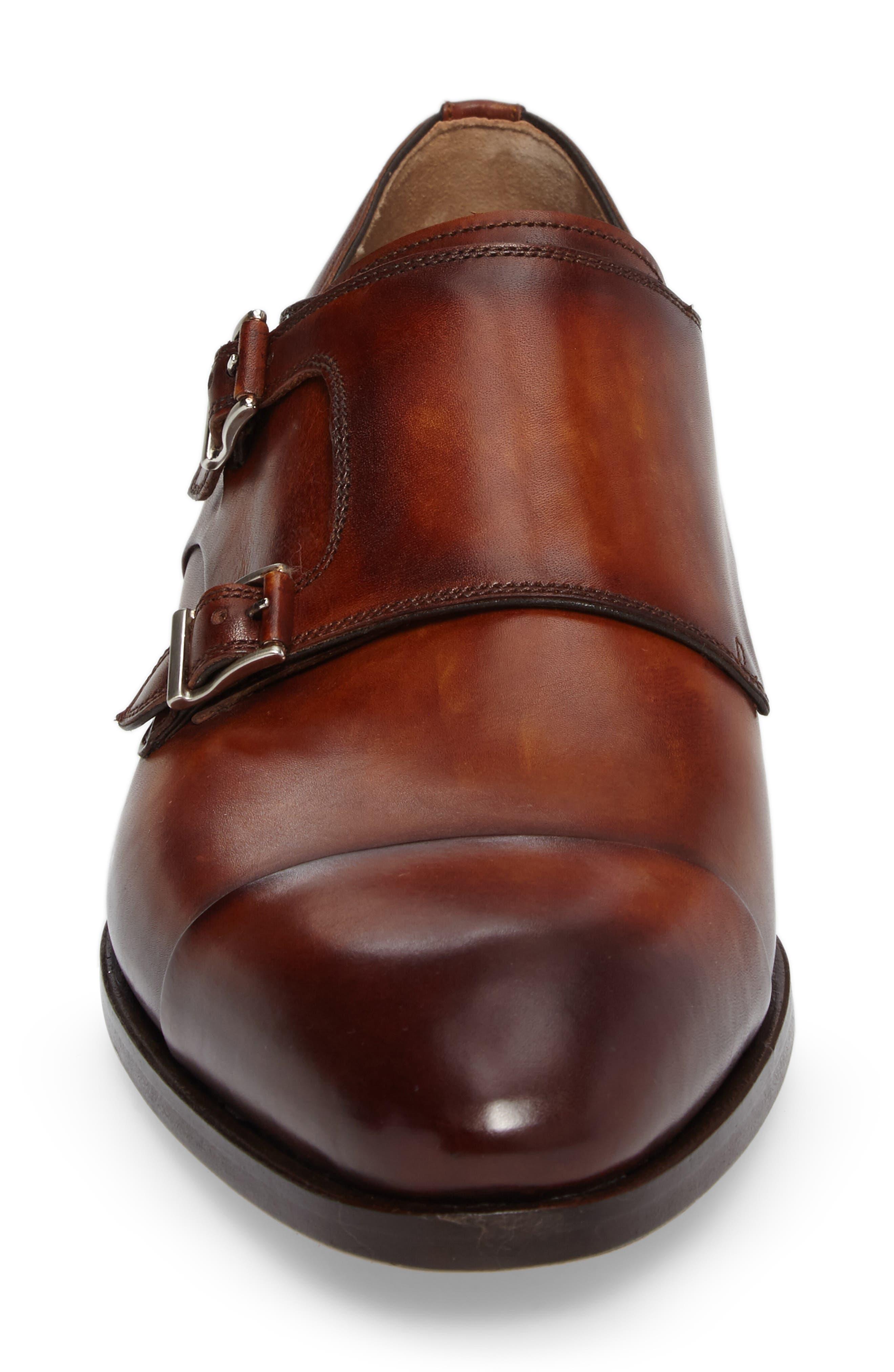 Louie Double Monk Strap Shoe,                             Alternate thumbnail 4, color,                             COGNAC LEATHER
