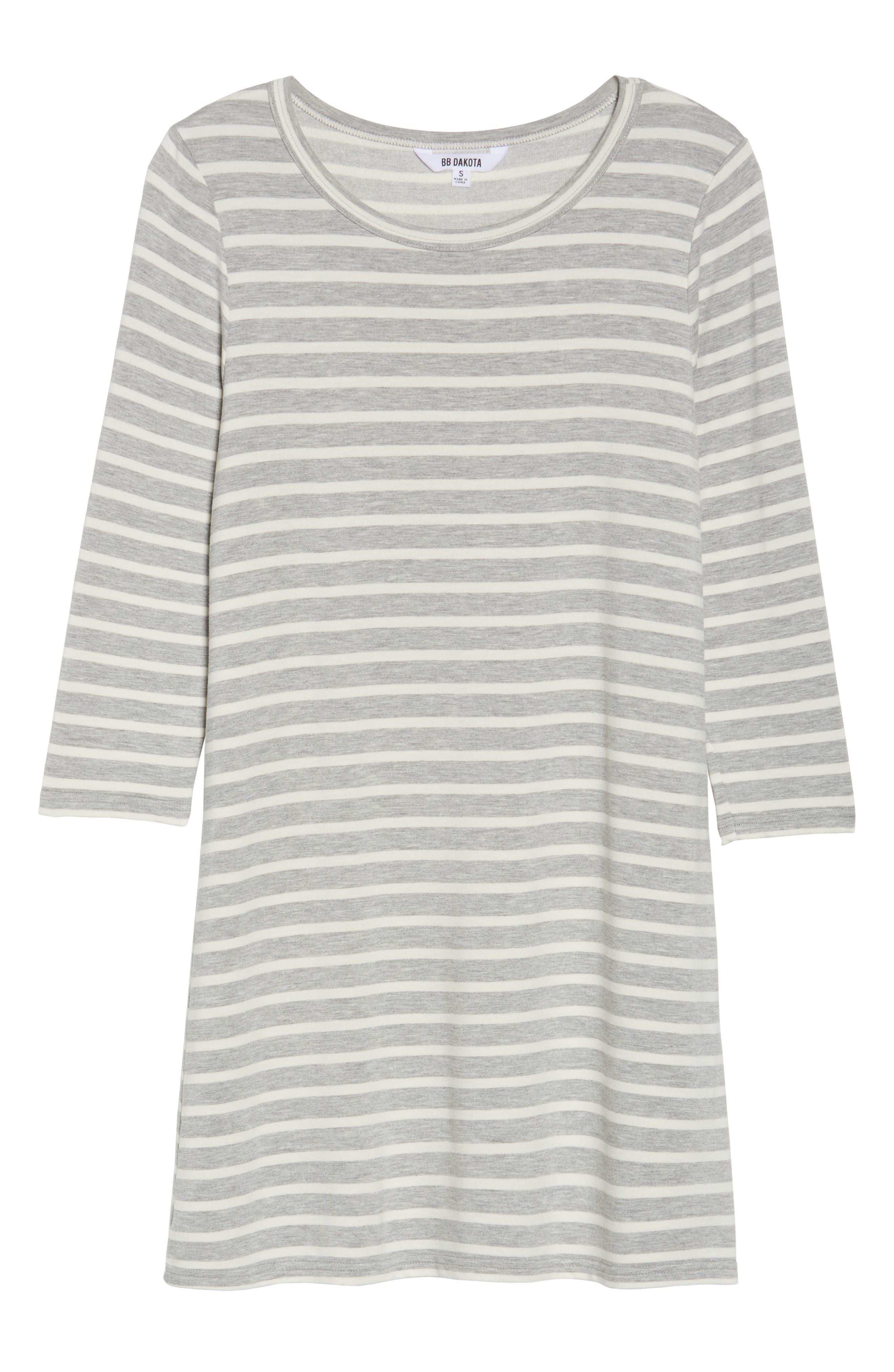 Adelene Stripe Knit Shift Dress,                             Alternate thumbnail 6, color,                             050
