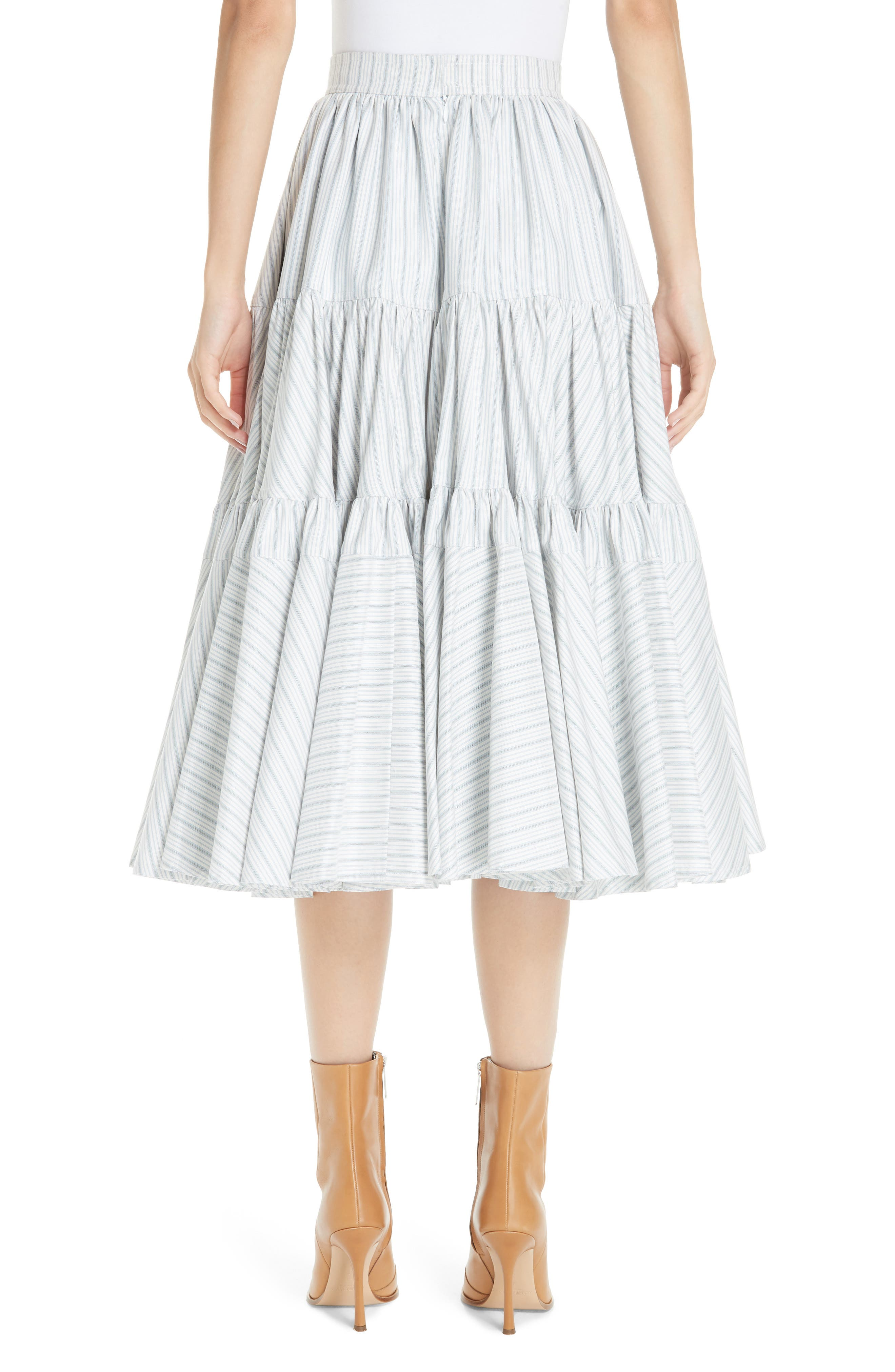 Silk Tiered Prairie Skirt,                             Alternate thumbnail 2, color,                             CREAM BLUE