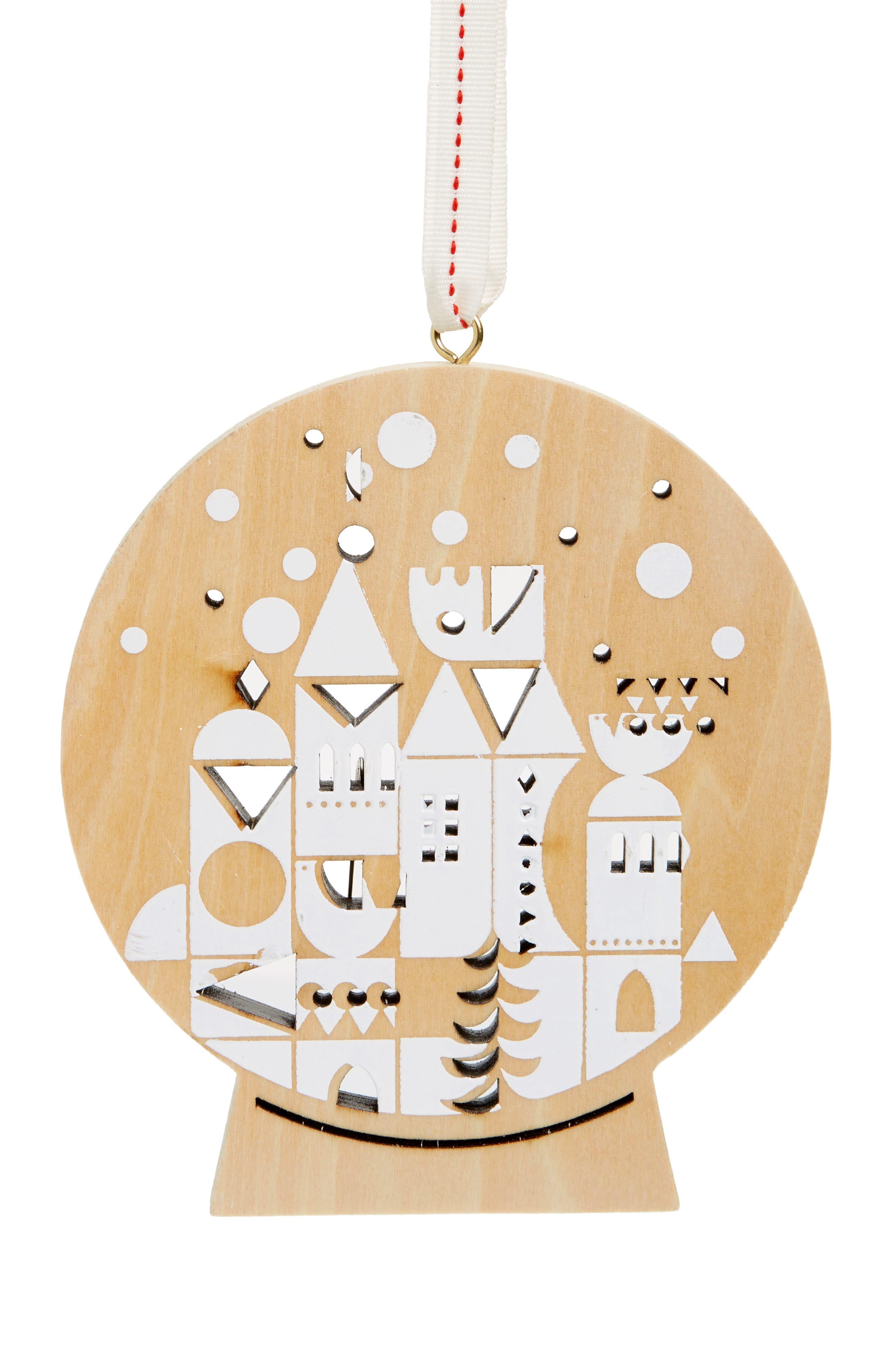 Snowglobe Village Wooden Ornament,                             Main thumbnail 1, color,                             200
