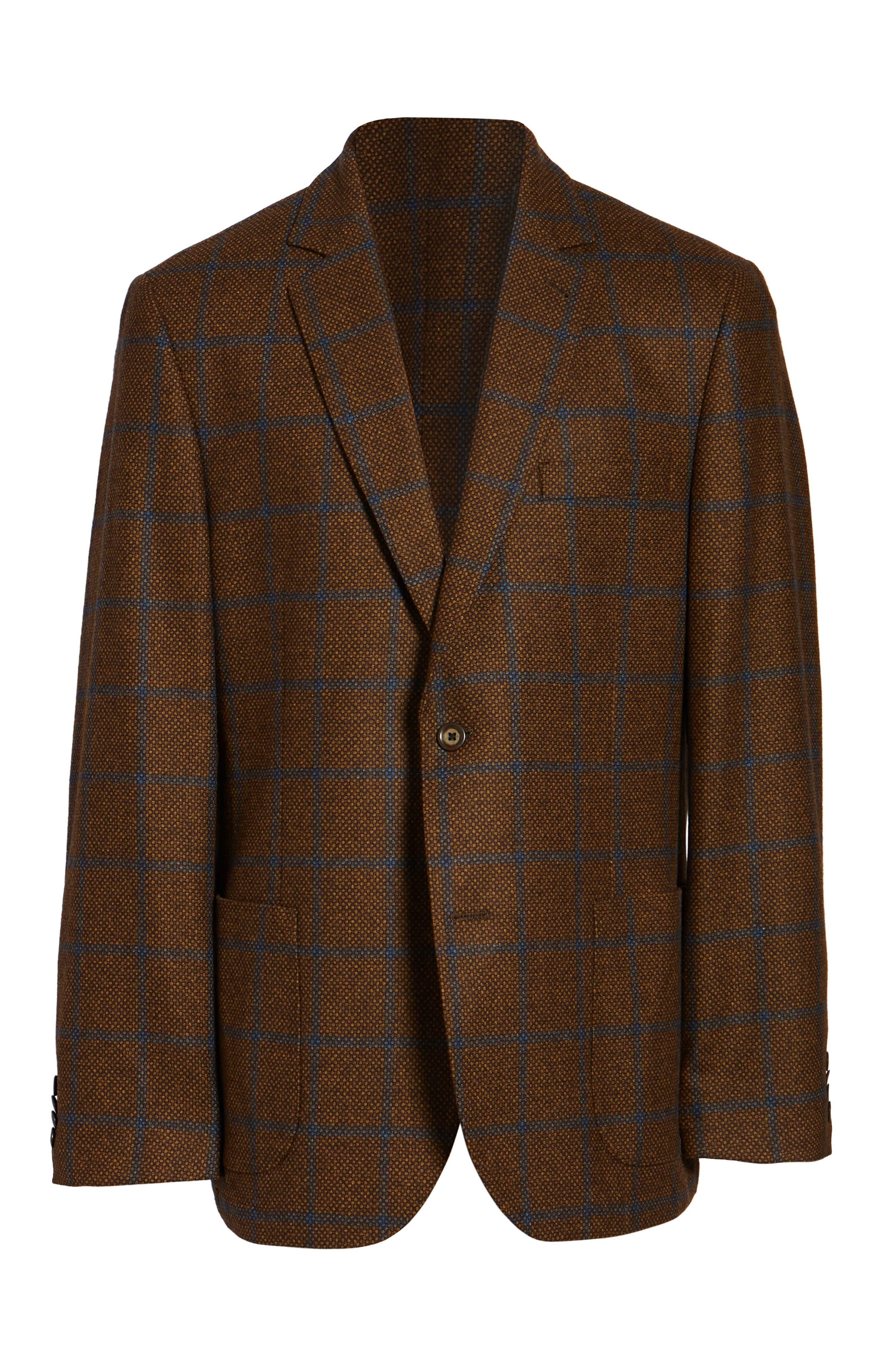 Classic Fit Windowpane Wool Sport Coat,                             Alternate thumbnail 5, color,                             220