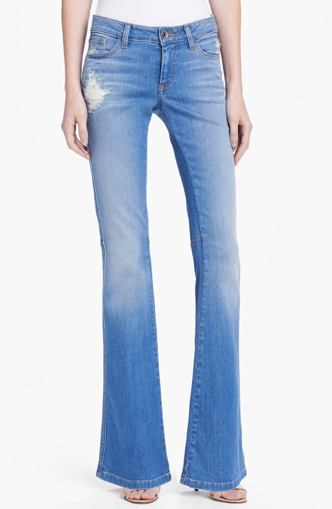 'Stacy' Distressed Bell Bottom Jeans,                             Main thumbnail 1, color,                             453