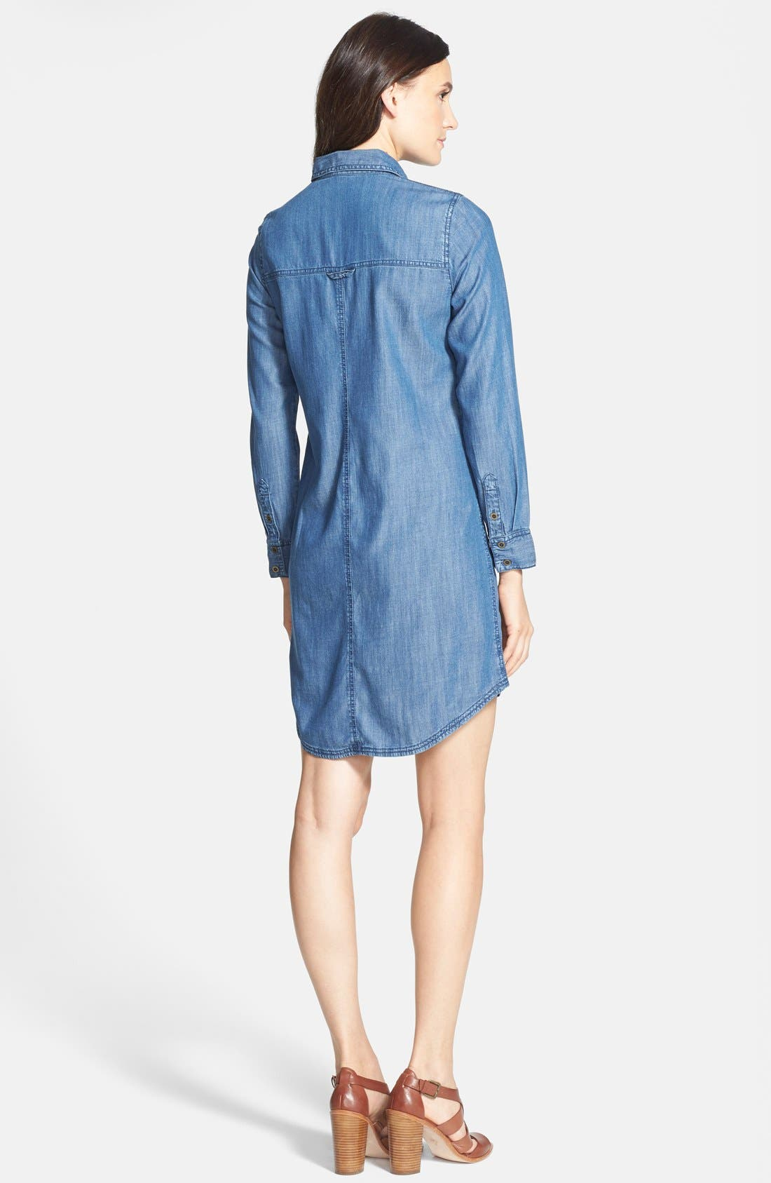 The Fisher Project Classic Collar Chambray Shirtdress,                             Alternate thumbnail 3, color,                             480