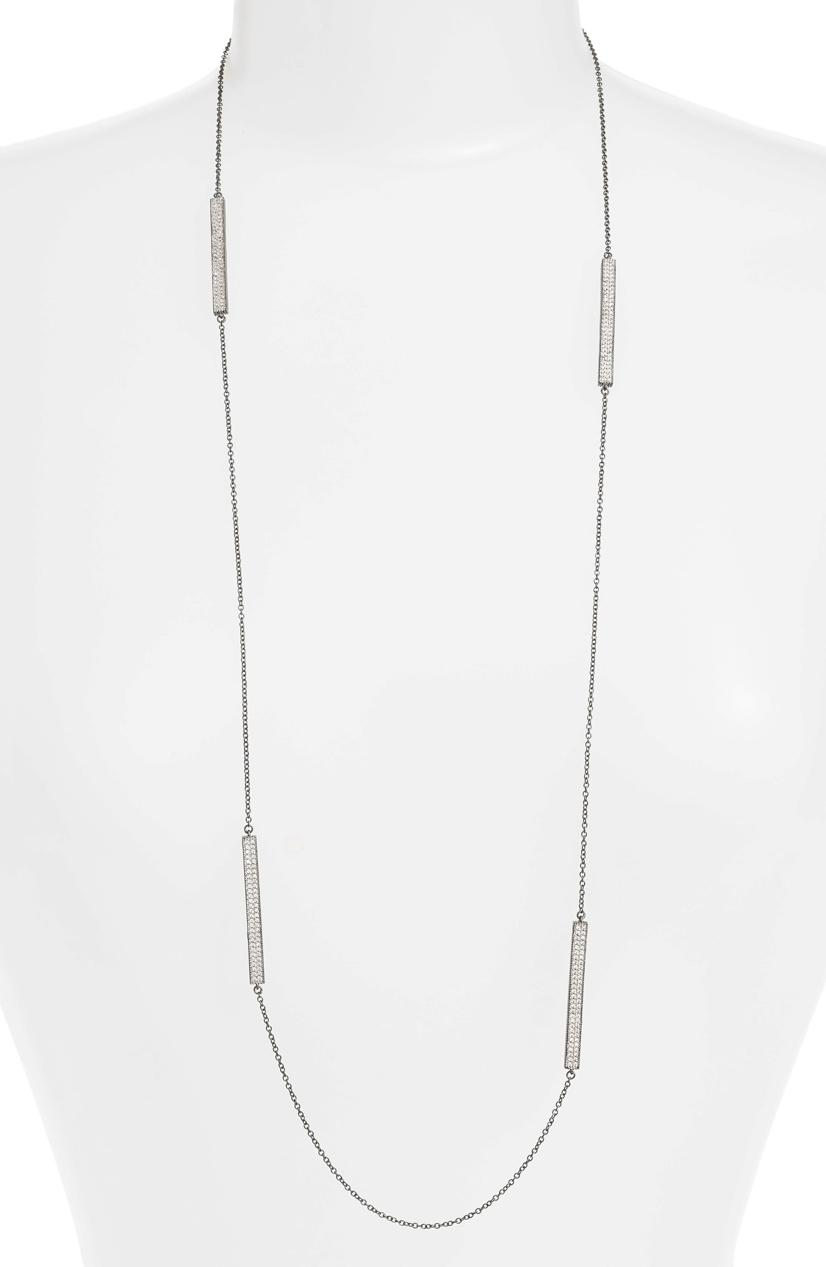 Contemporary Deco Station Necklace,                             Alternate thumbnail 2, color,                             SILVER/ GUNMETAL