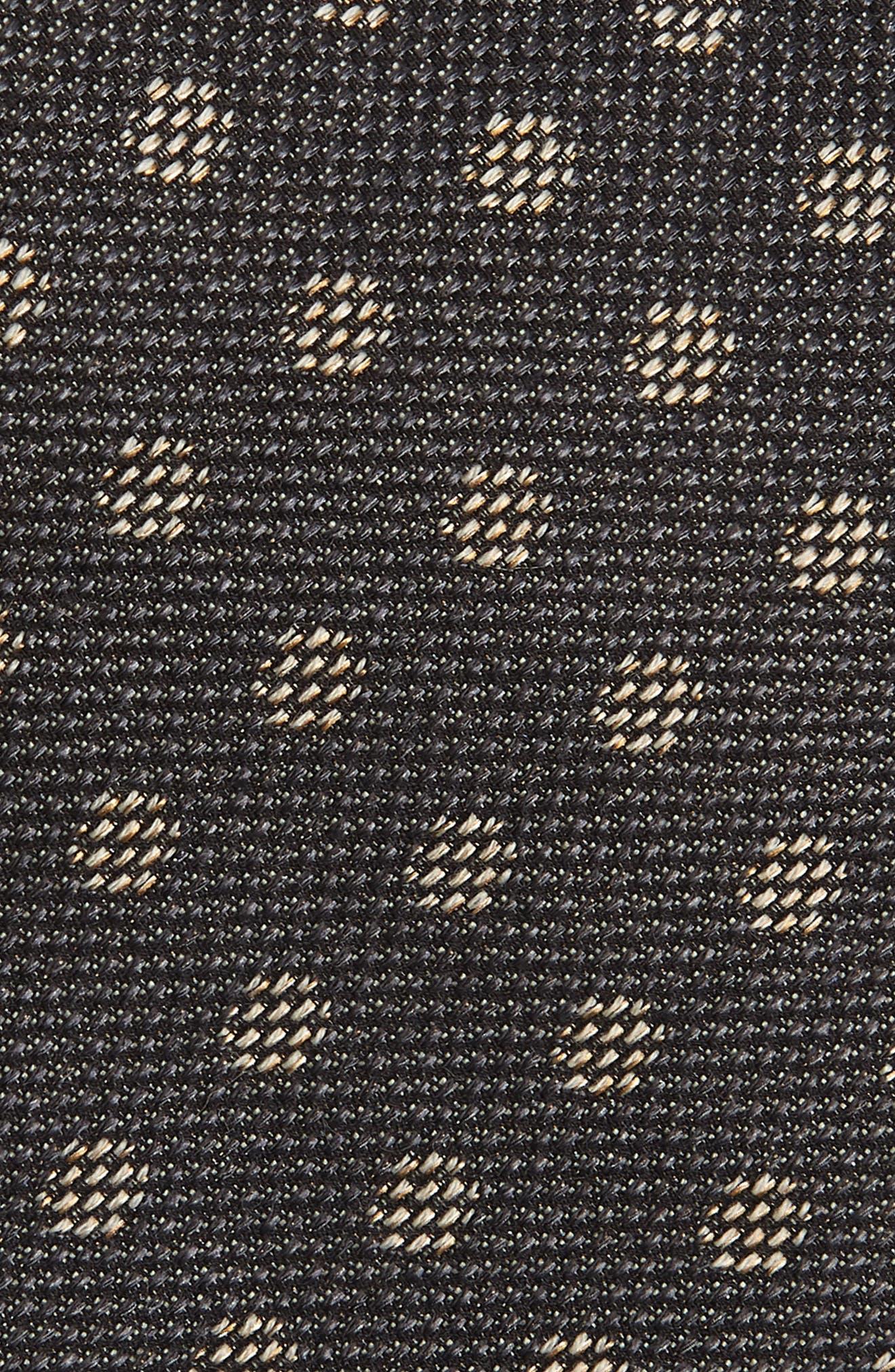 Dot Silk & Cotton Tie,                             Alternate thumbnail 2, color,                             CHARCOAL