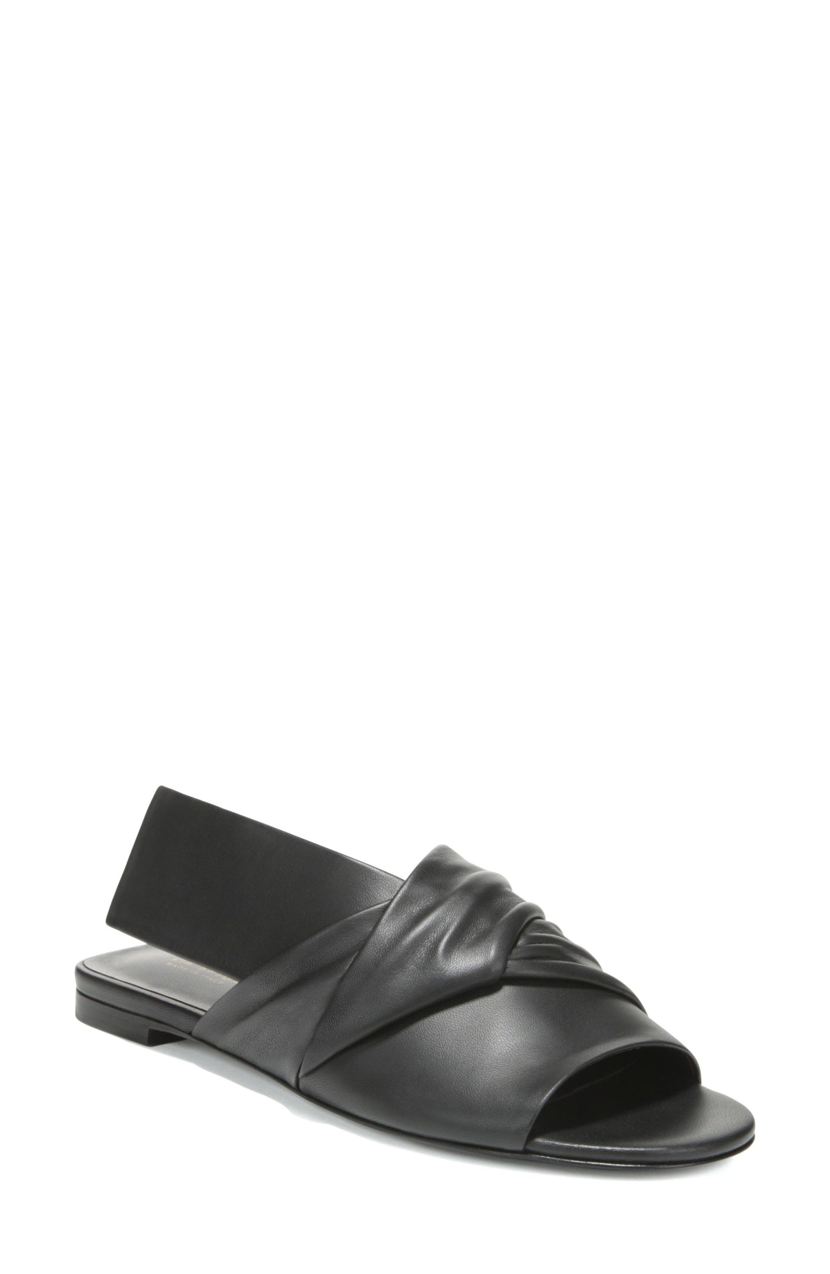 Halina Slide Sandal,                             Main thumbnail 1, color,                             BLACK LEATHER