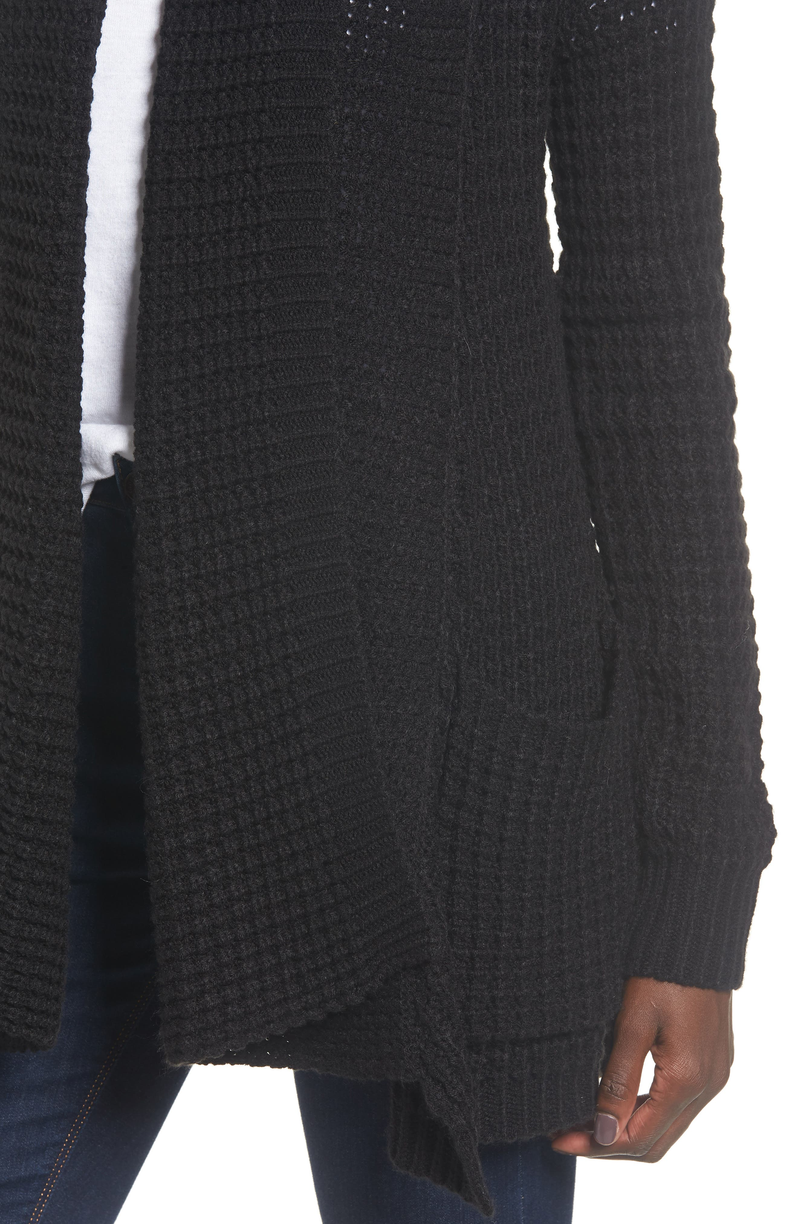 Shambala Knit Cardigan,                             Alternate thumbnail 4, color,                             BLACK