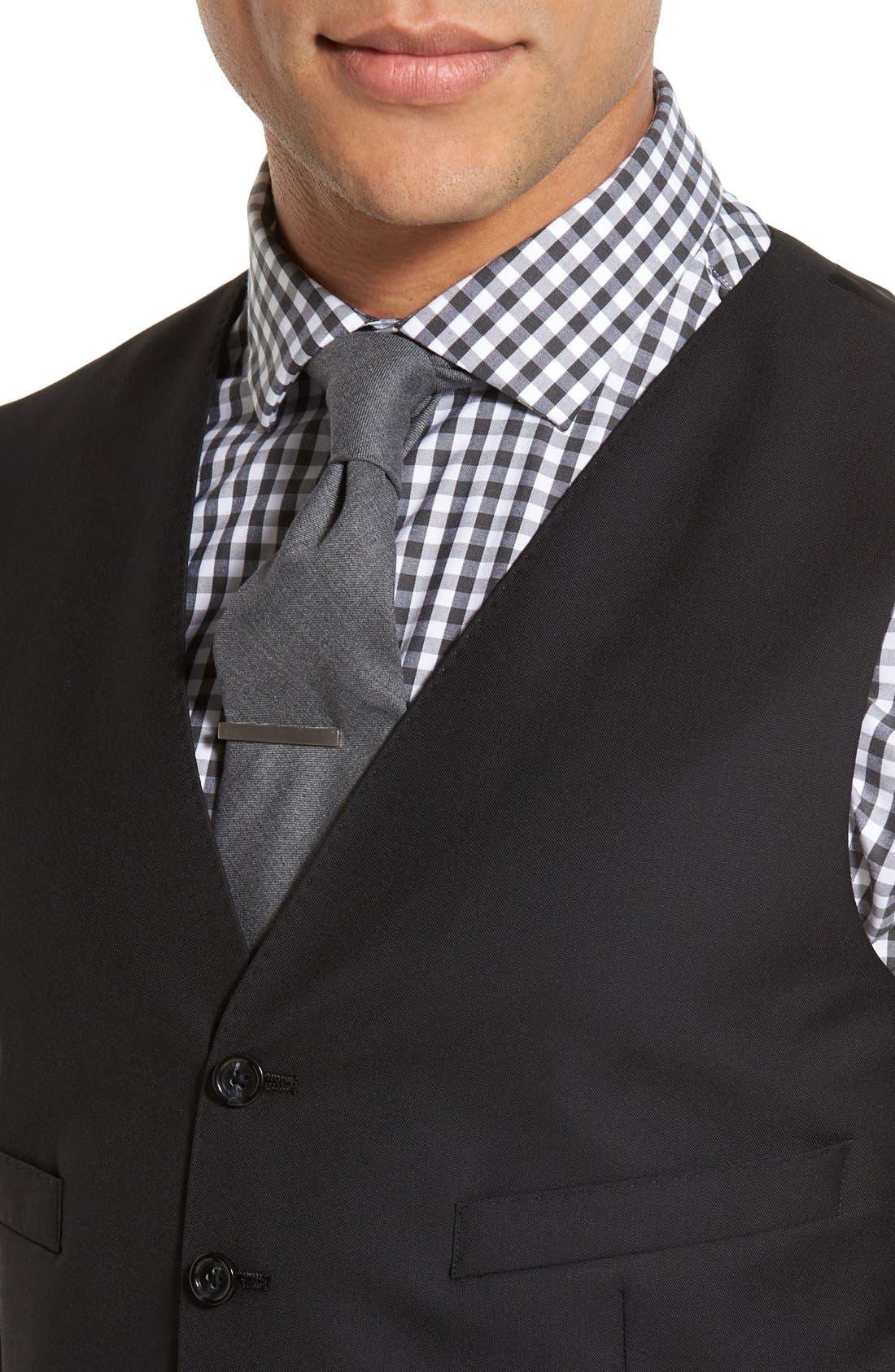 Ludlow Trim Fit Solid Wool Vest,                             Alternate thumbnail 5, color,                             001