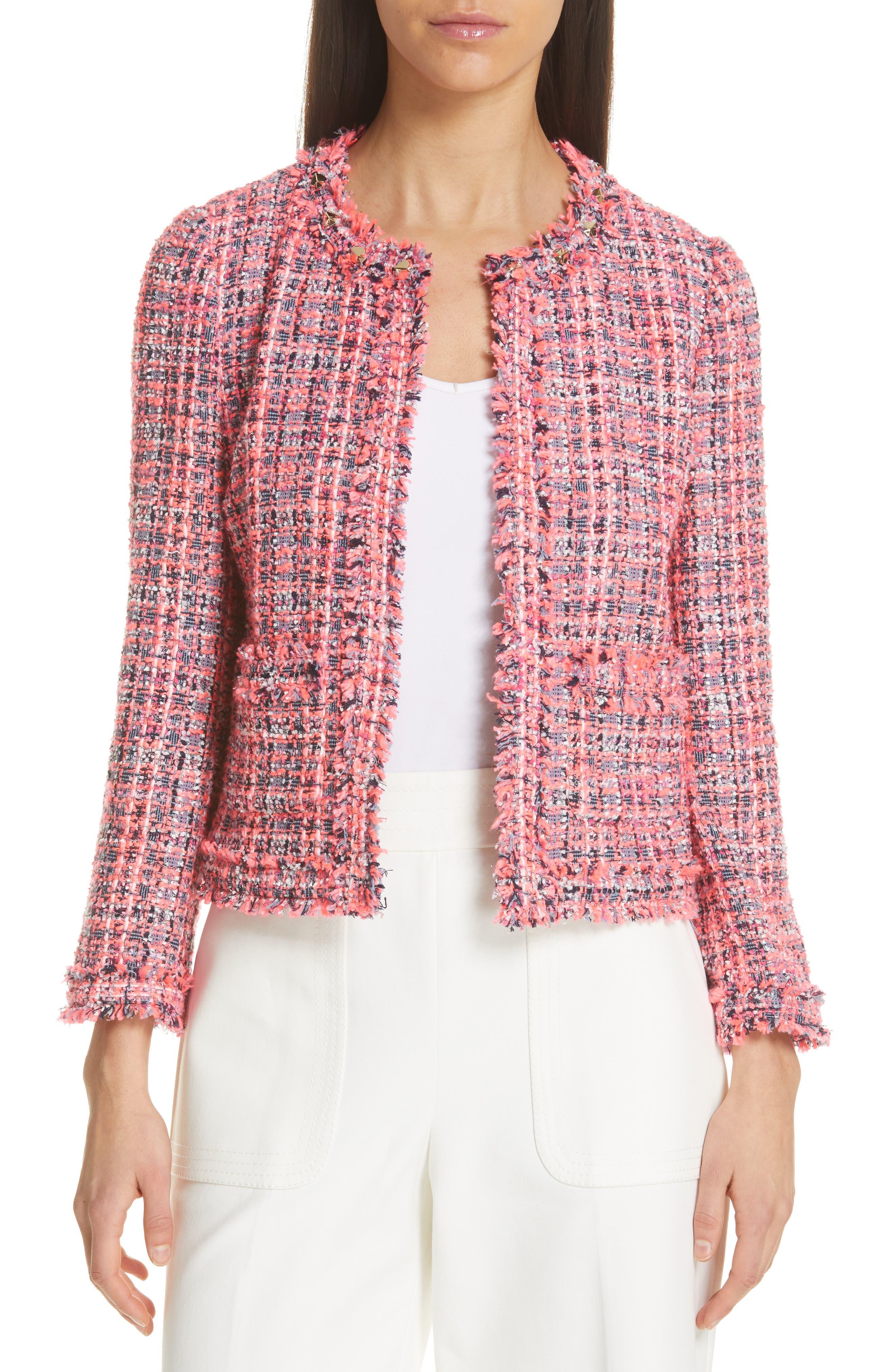 stud trim tweed jacket,                             Main thumbnail 1, color,                             PERFECT PEONY