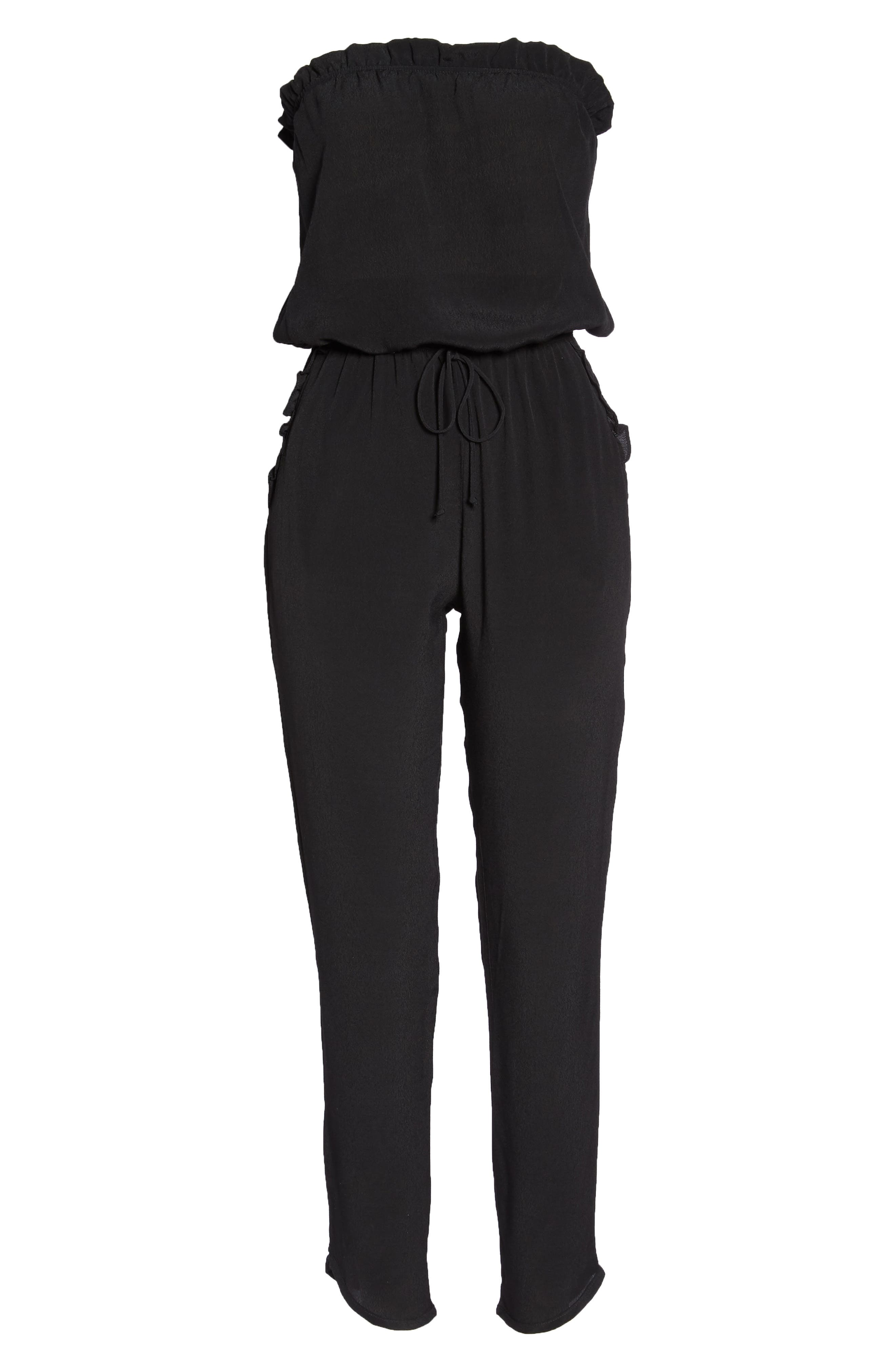 Strapless Jumpsuit,                             Alternate thumbnail 7, color,                             BLACK