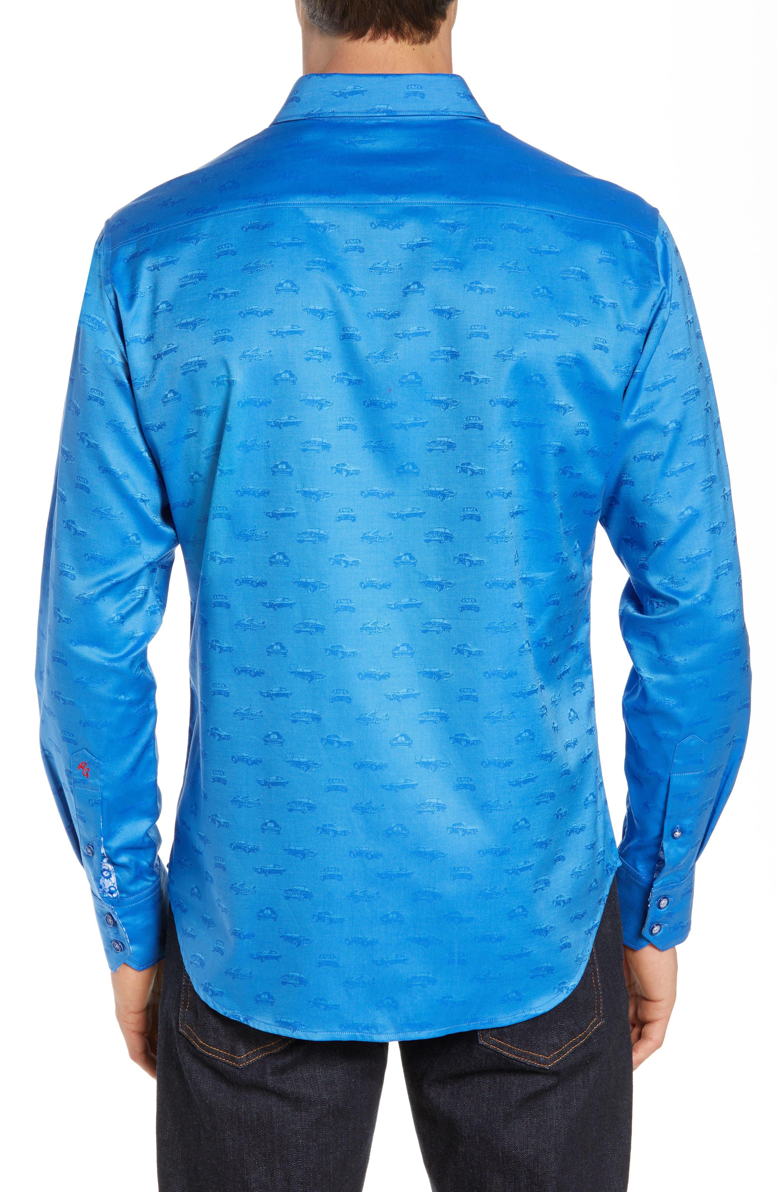 ROBERT GRAHAM,                             Car Enthusiast Jacquard Sport Shirt,                             Alternate thumbnail 3, color,                             COBALT
