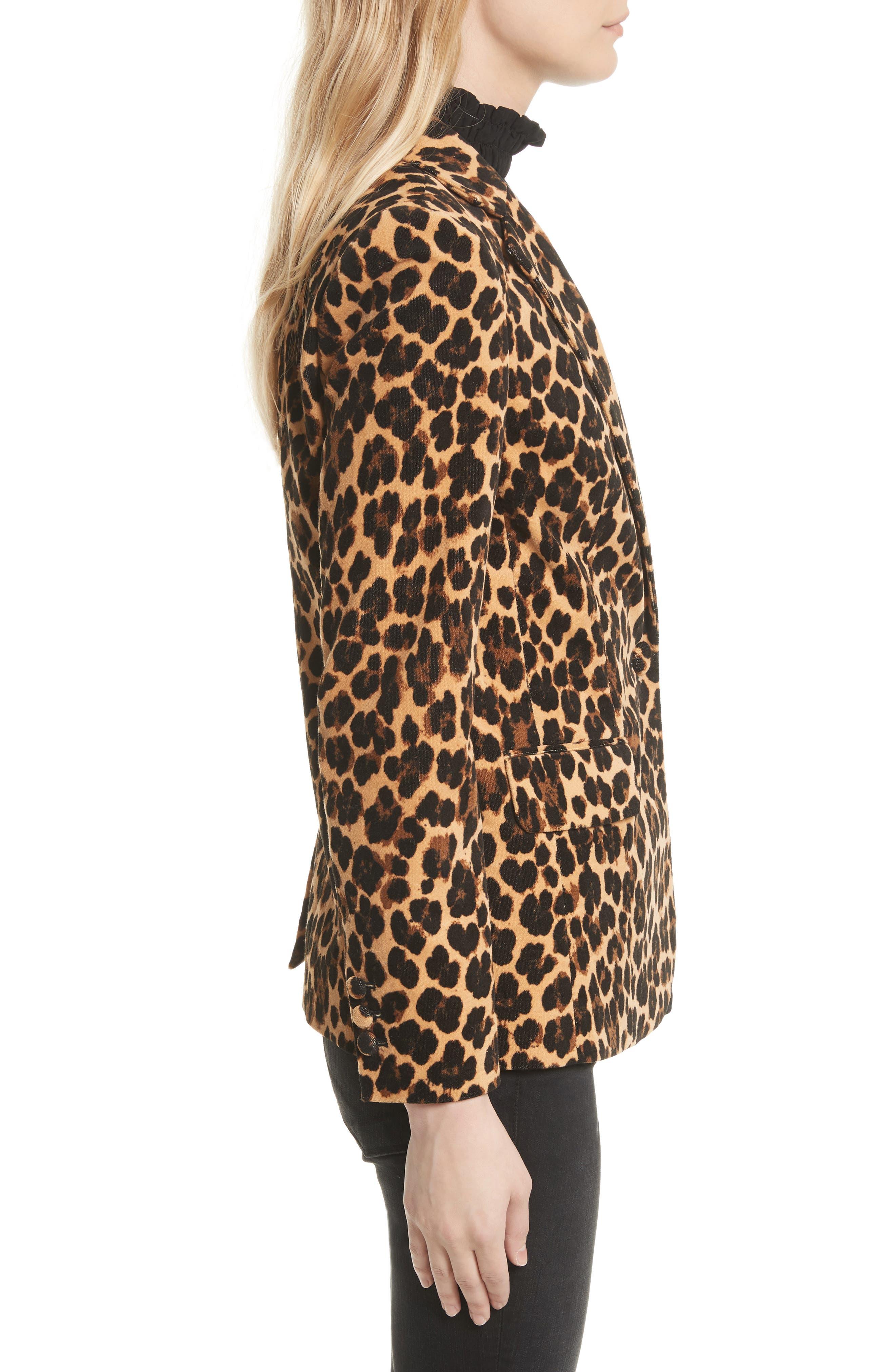 Cheetah Classic Velvet Blazer,                             Alternate thumbnail 3, color,                             200