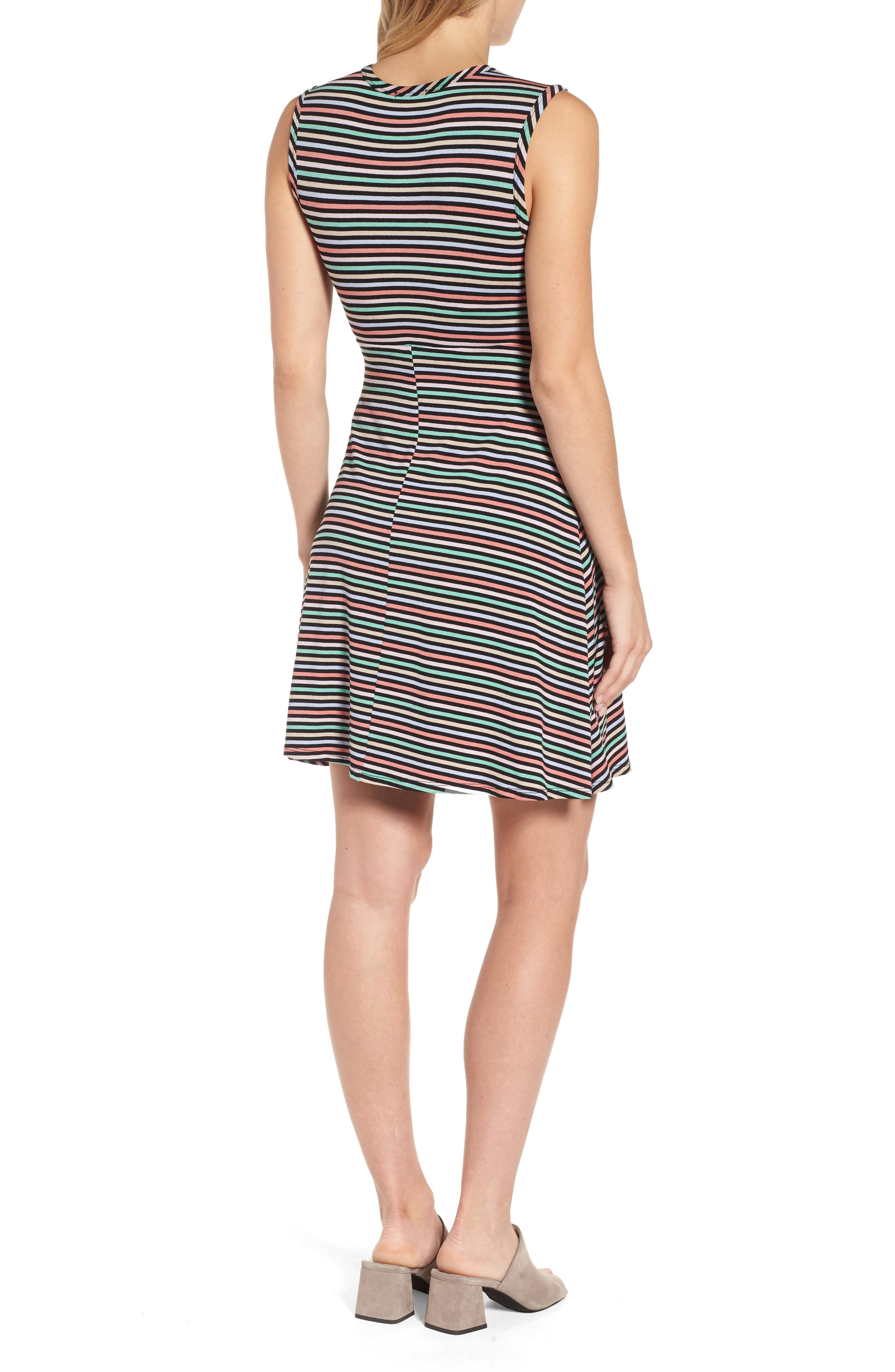 Tie Front Maternity Dress,                             Alternate thumbnail 3, color,                             CANDY STRIPES