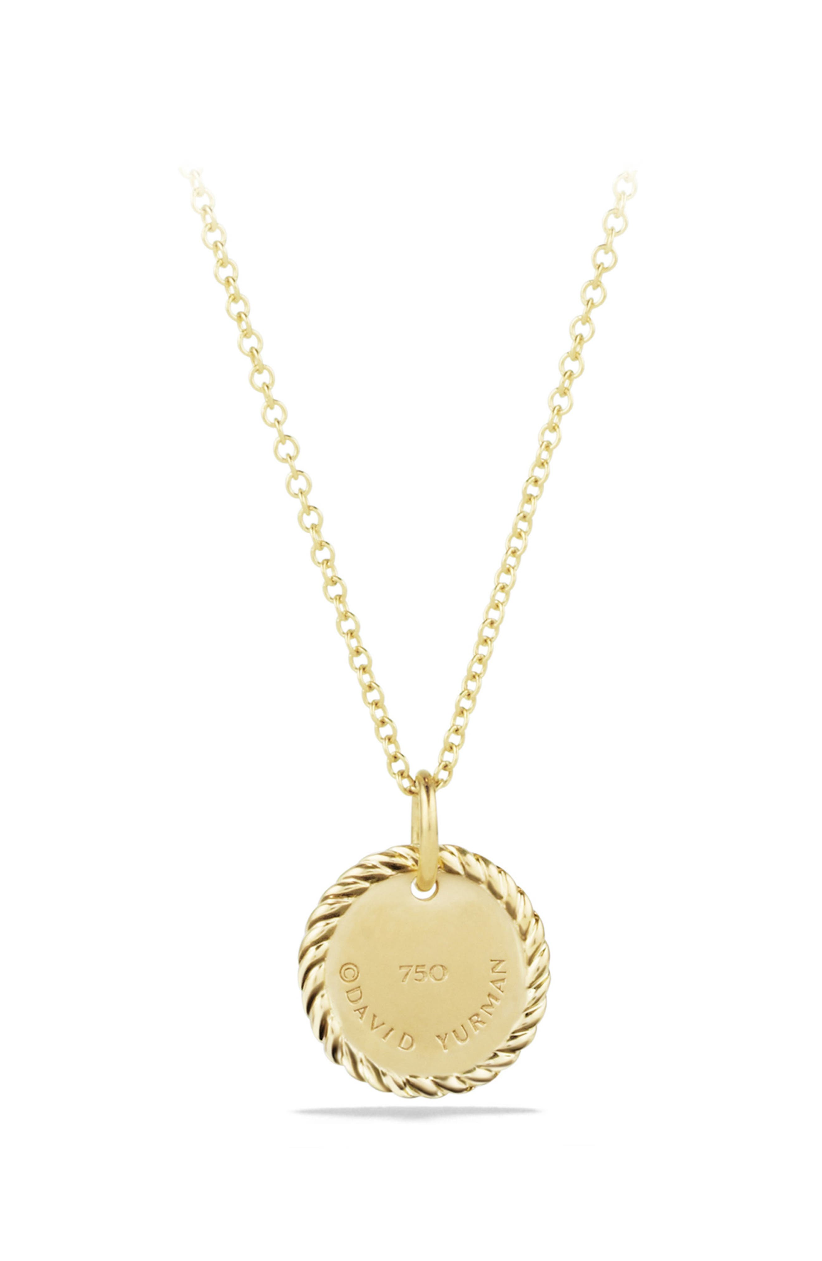 'Cable Collectibles' Star of David Charm Necklace with Diamonds in Gold,                             Alternate thumbnail 3, color,                             DIAMOND