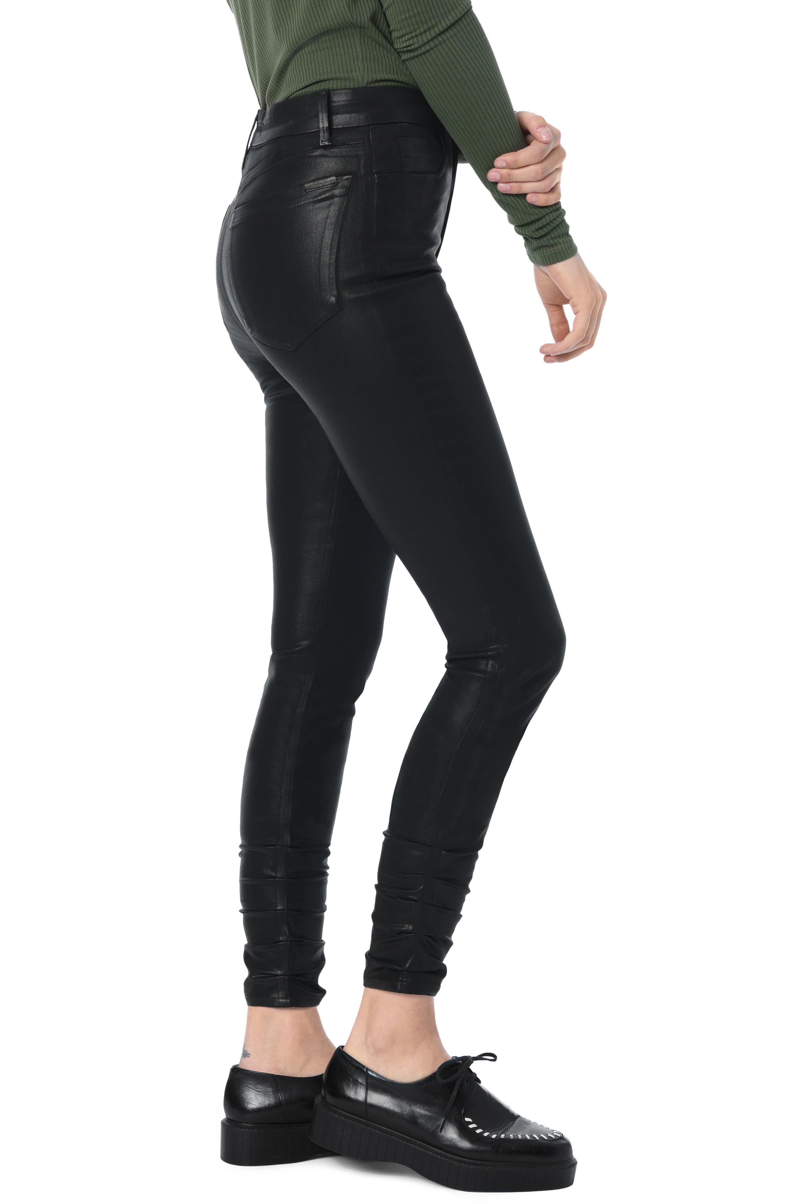 Charlie Coated Stacked Hem Ankle Skinny Jeans,                             Alternate thumbnail 3, color,                             BLACK