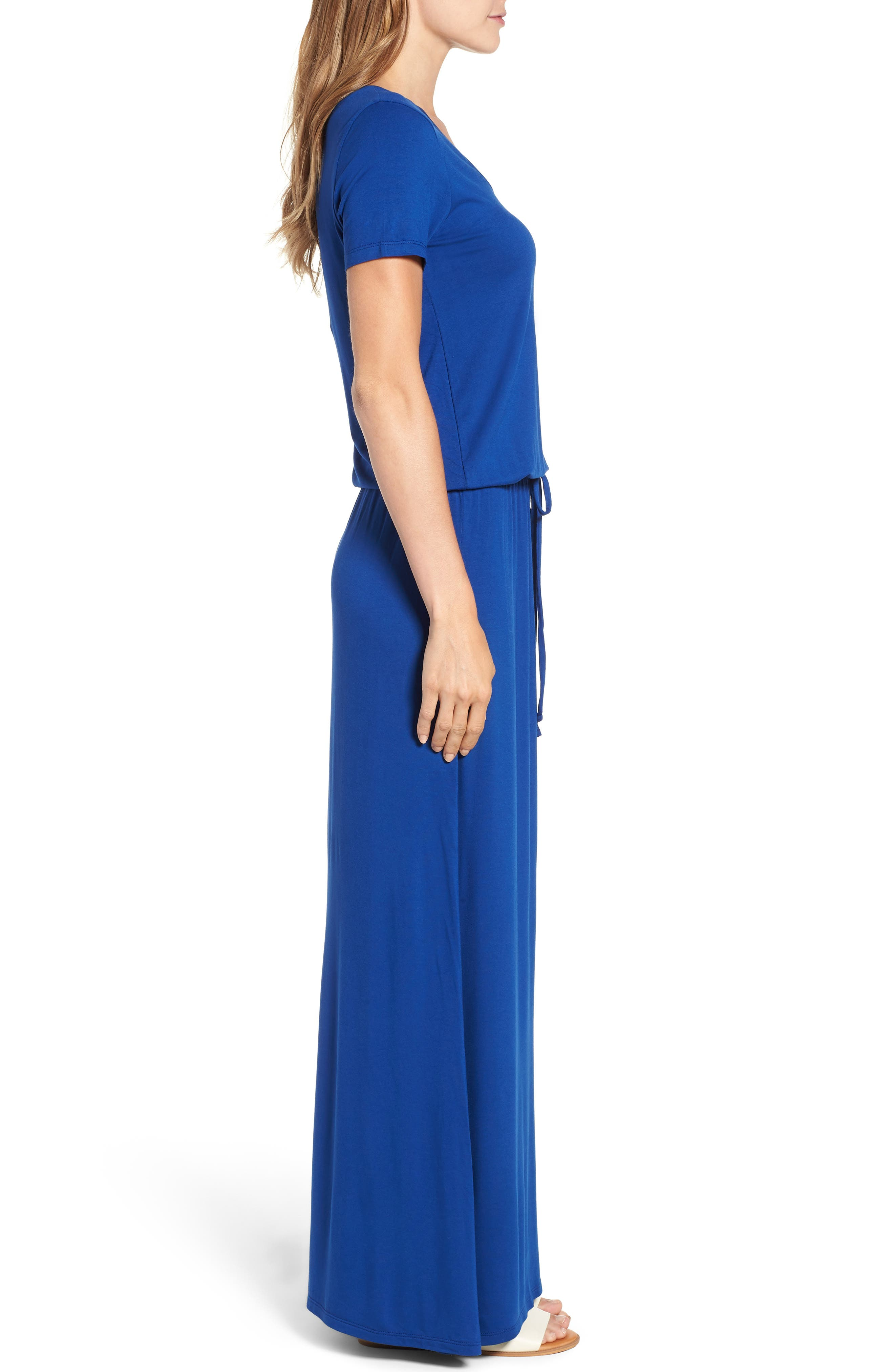 Drawstring V-Neck Jersey Maxi Dress,                             Alternate thumbnail 3, color,                             401