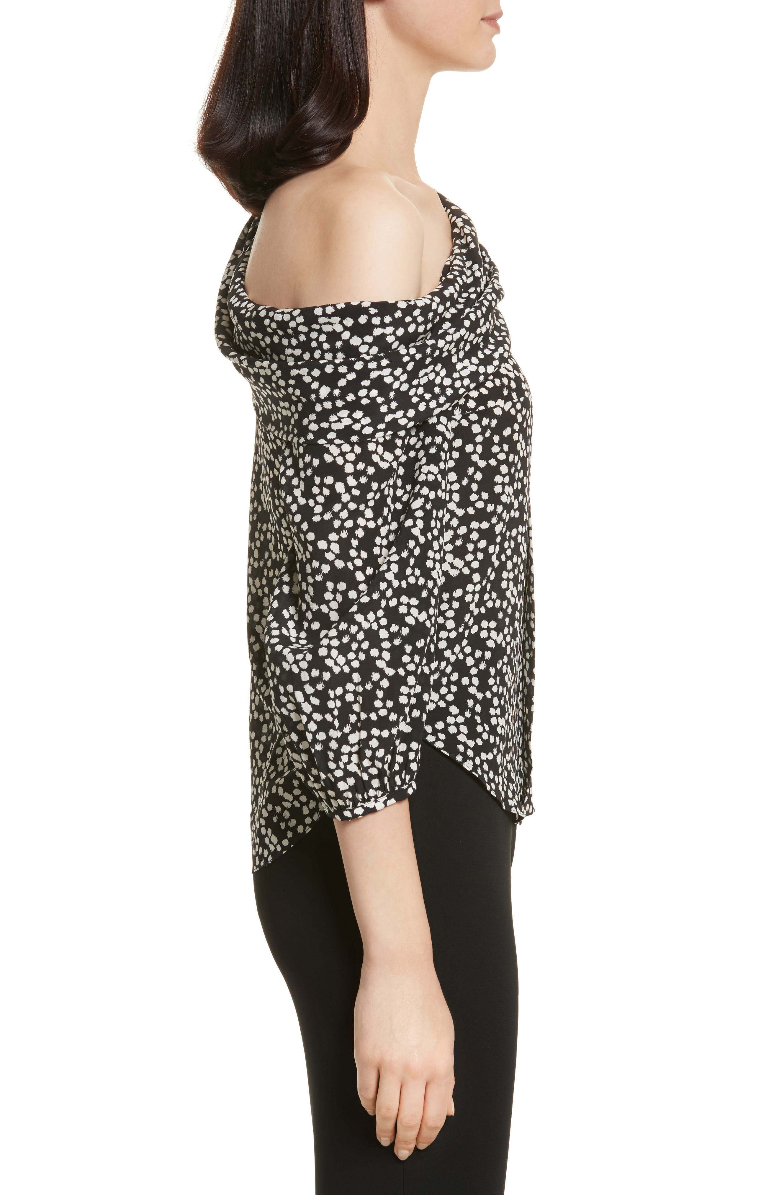 Ness Print Silk Off the Shoulder Top,                             Alternate thumbnail 3, color,