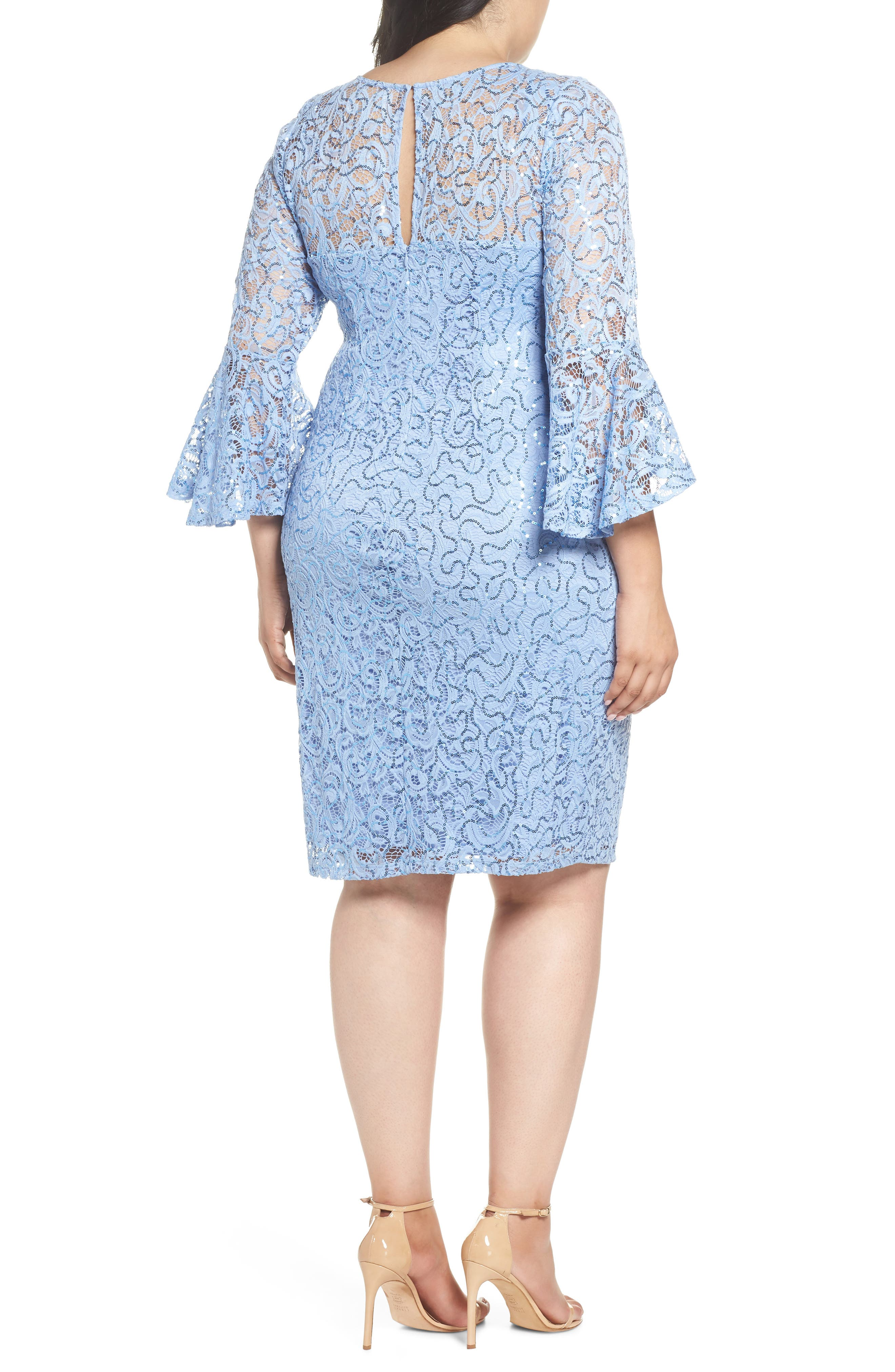 Sequin Lace Bell Sleeve Dress,                             Alternate thumbnail 2, color,                             BLUE