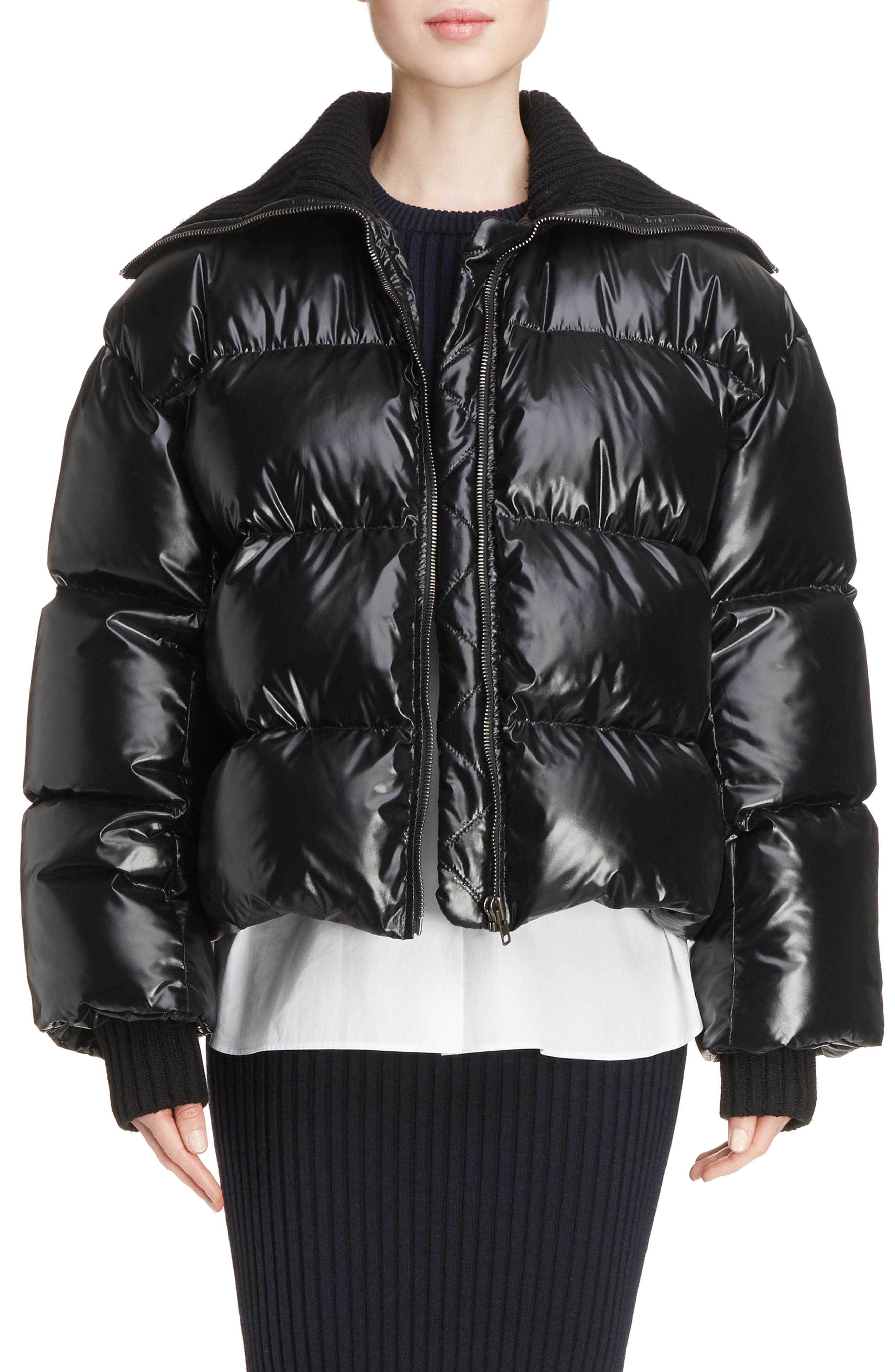 Crop Down Puffer Jacket,                             Main thumbnail 1, color,                             001