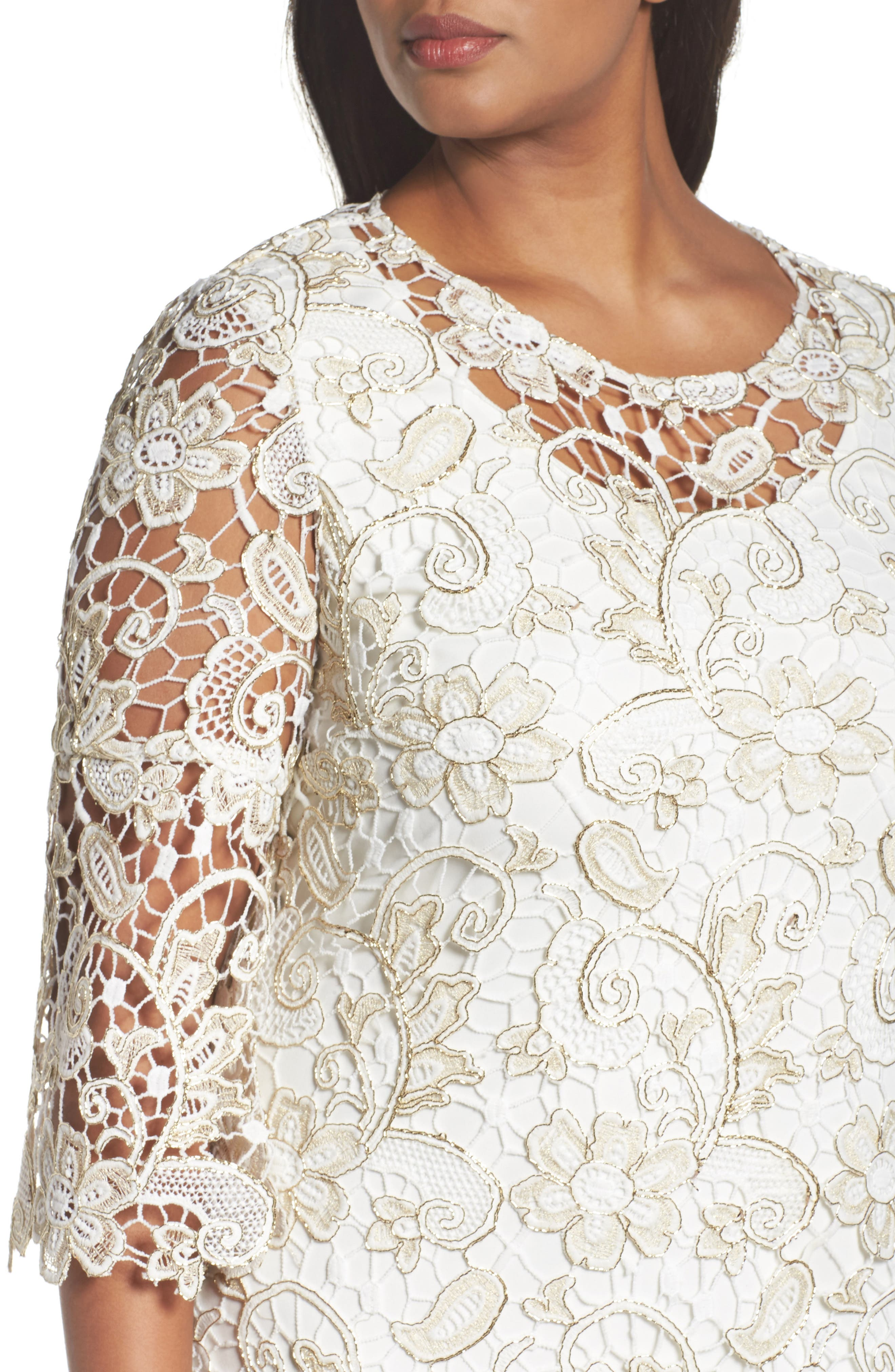 Bell Sleeve Lace Shift Dress,                             Alternate thumbnail 8, color,