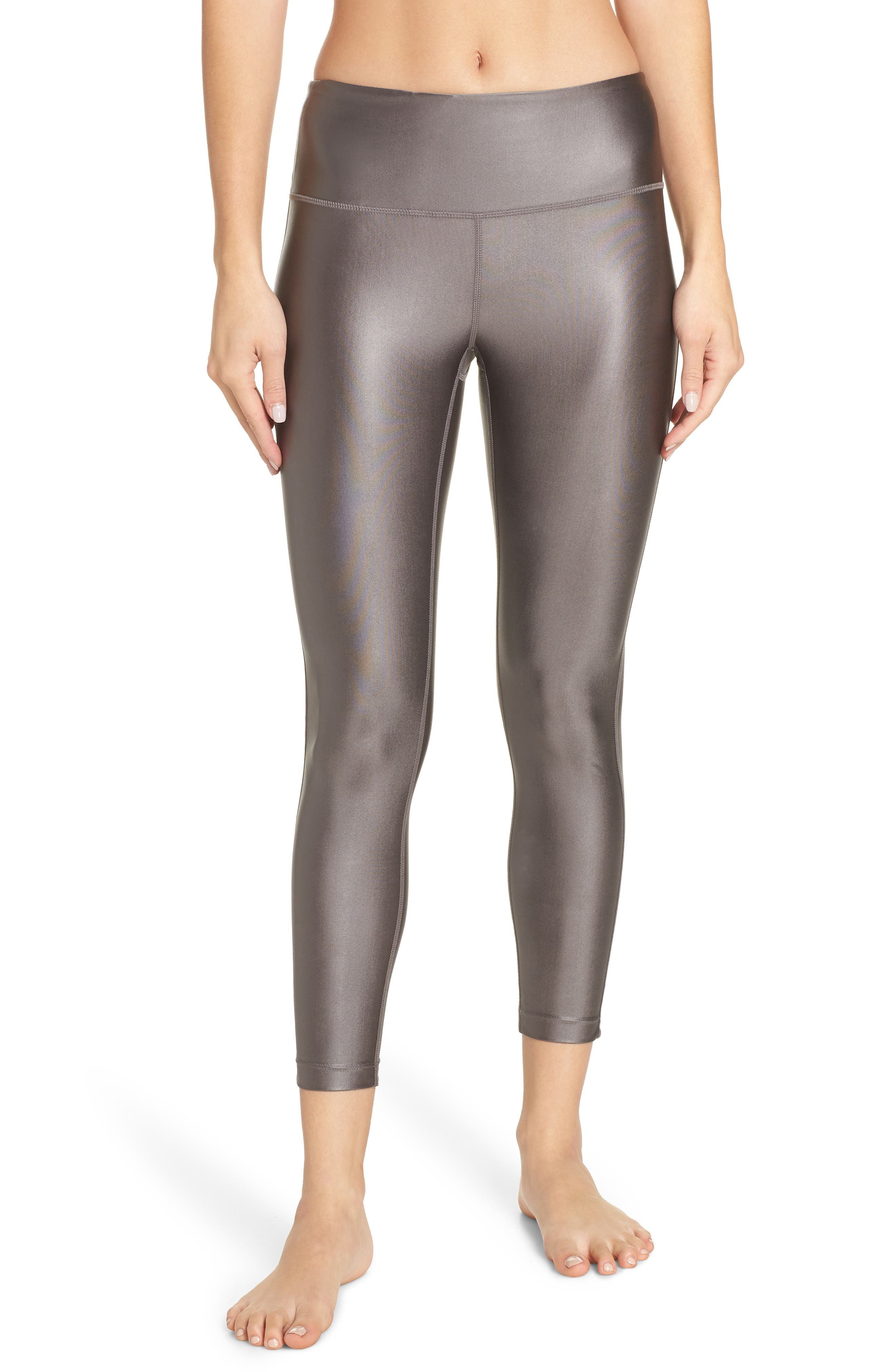 High Waist Shine Midi Leggings,                         Main,                         color, GREY KITTEN
