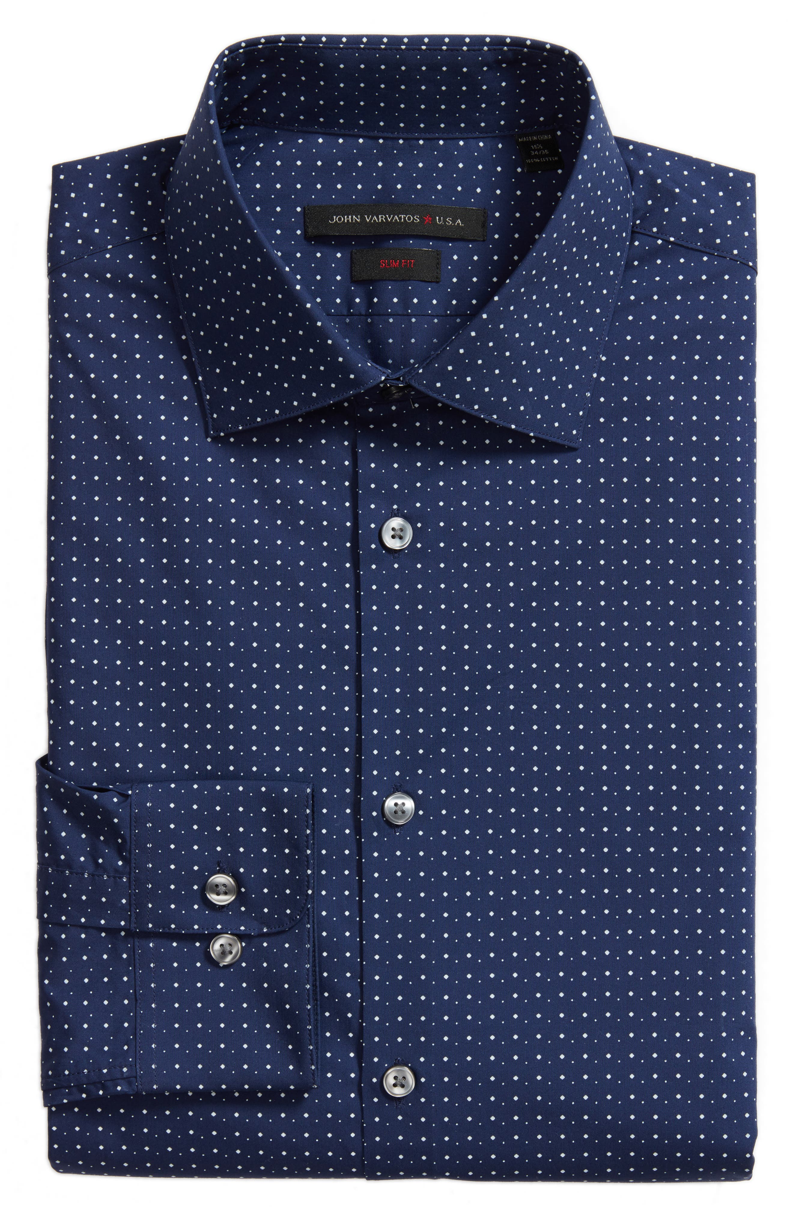 Slim Fit Diamond Dress Shirt,                             Alternate thumbnail 5, color,                             478