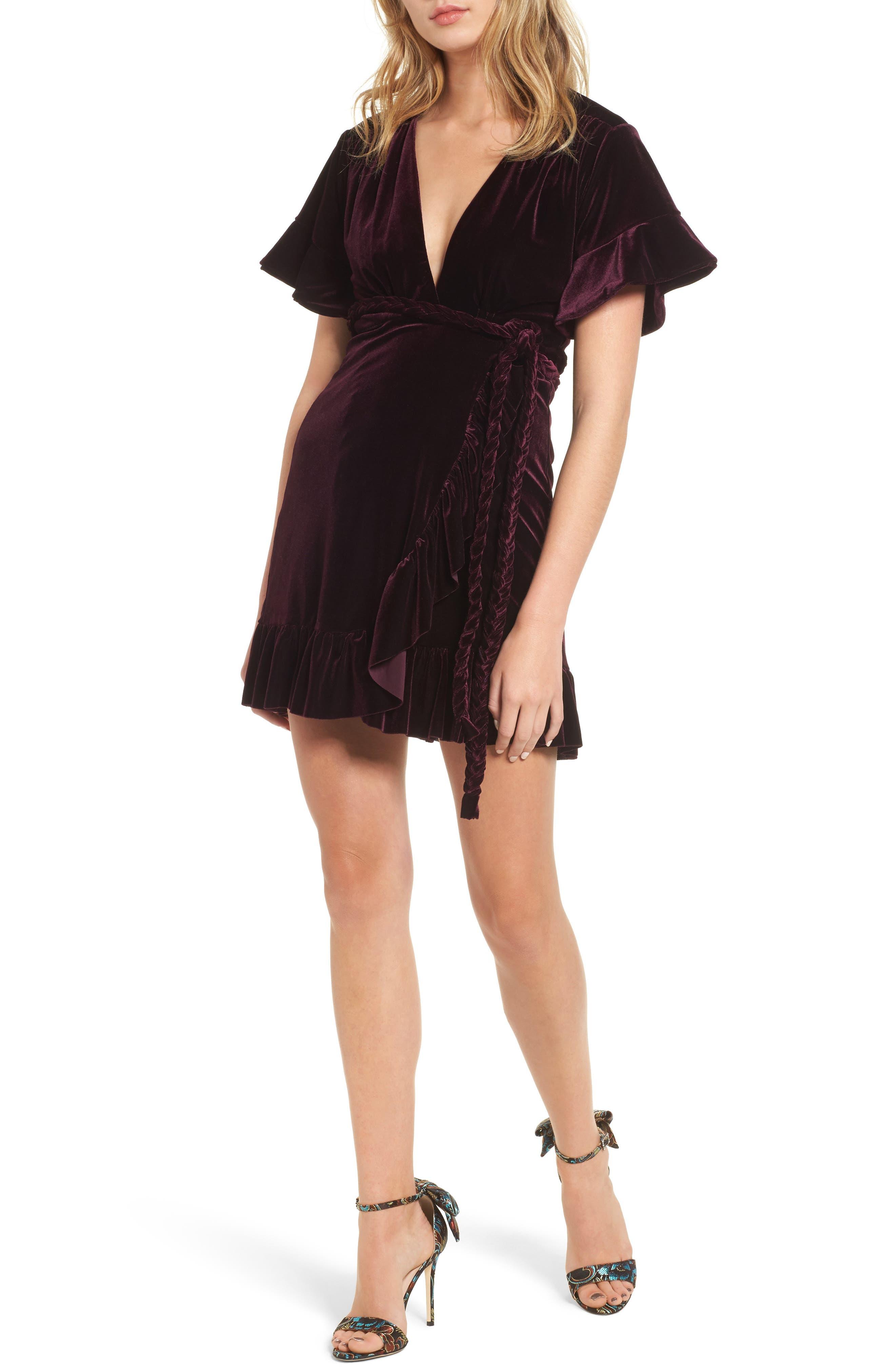 Desma Velvet Wrap Dress,                         Main,                         color, 505
