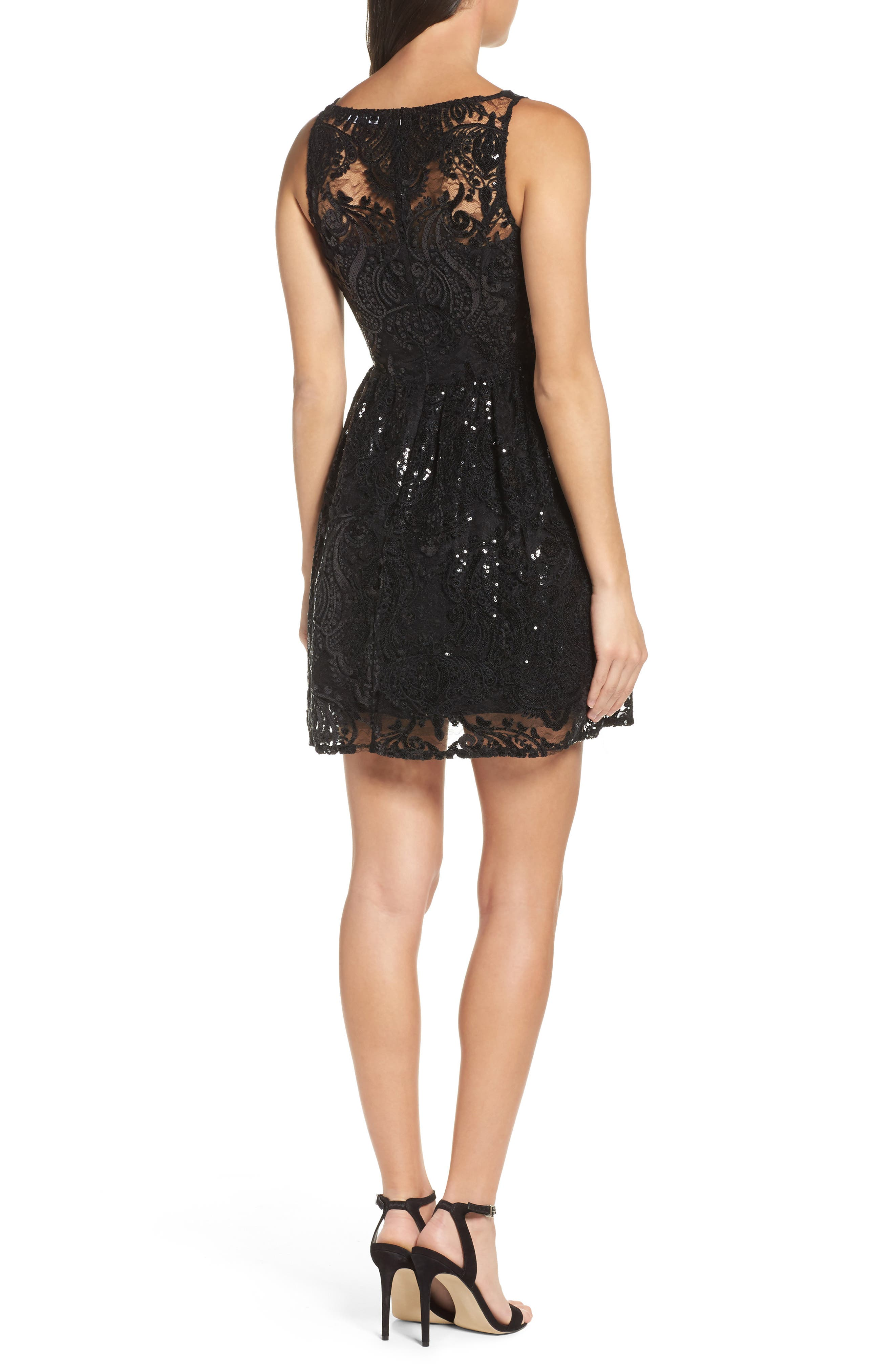 Tate Sequin Fit & Flare Dress,                             Alternate thumbnail 2, color,                             001