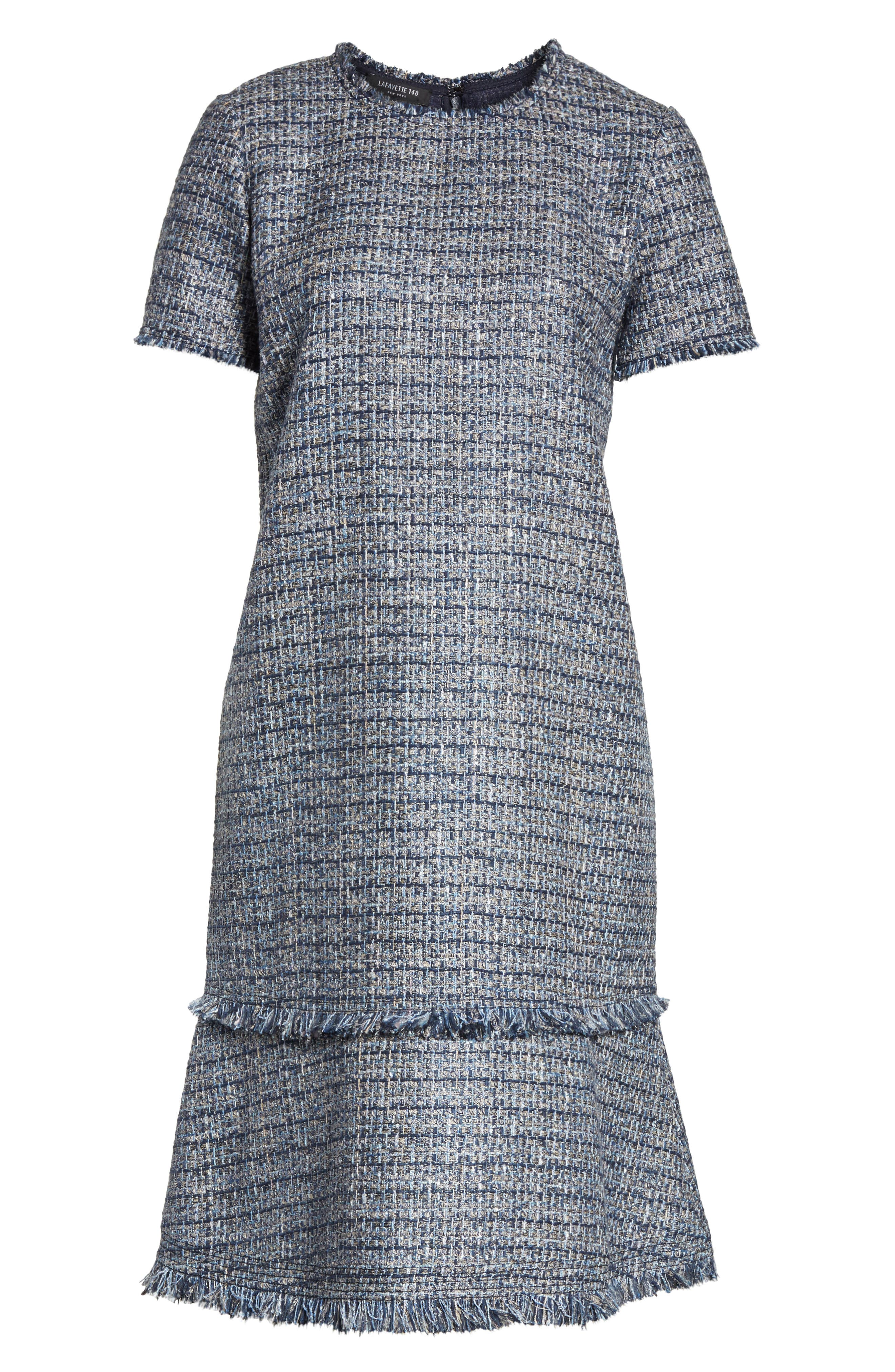 Saria Tweed Drop Waist Dress,                             Alternate thumbnail 6, color,