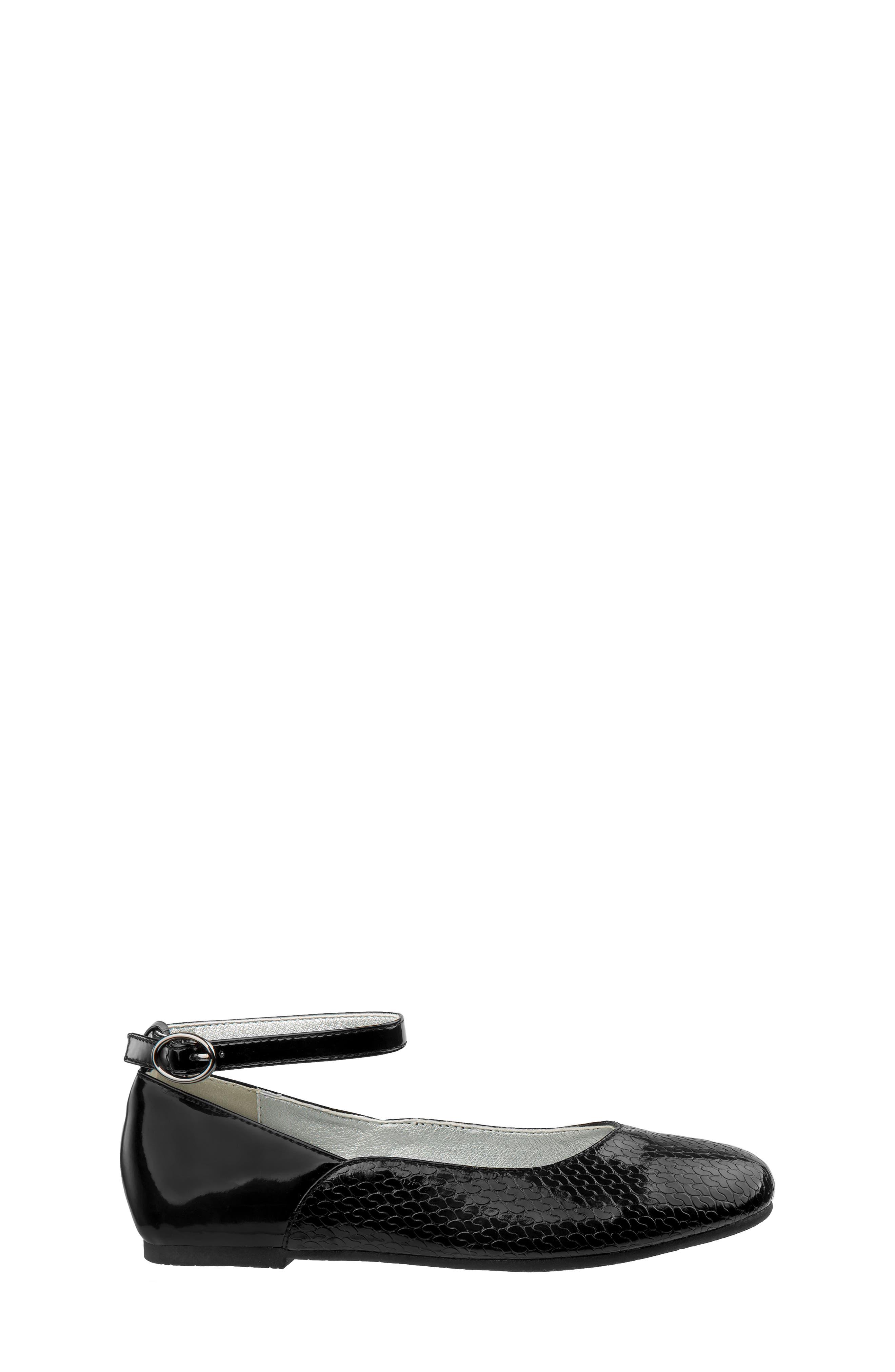 Ankle Strap Ballerina Flat,                             Alternate thumbnail 2, color,                             BLACK FAUX PATENT