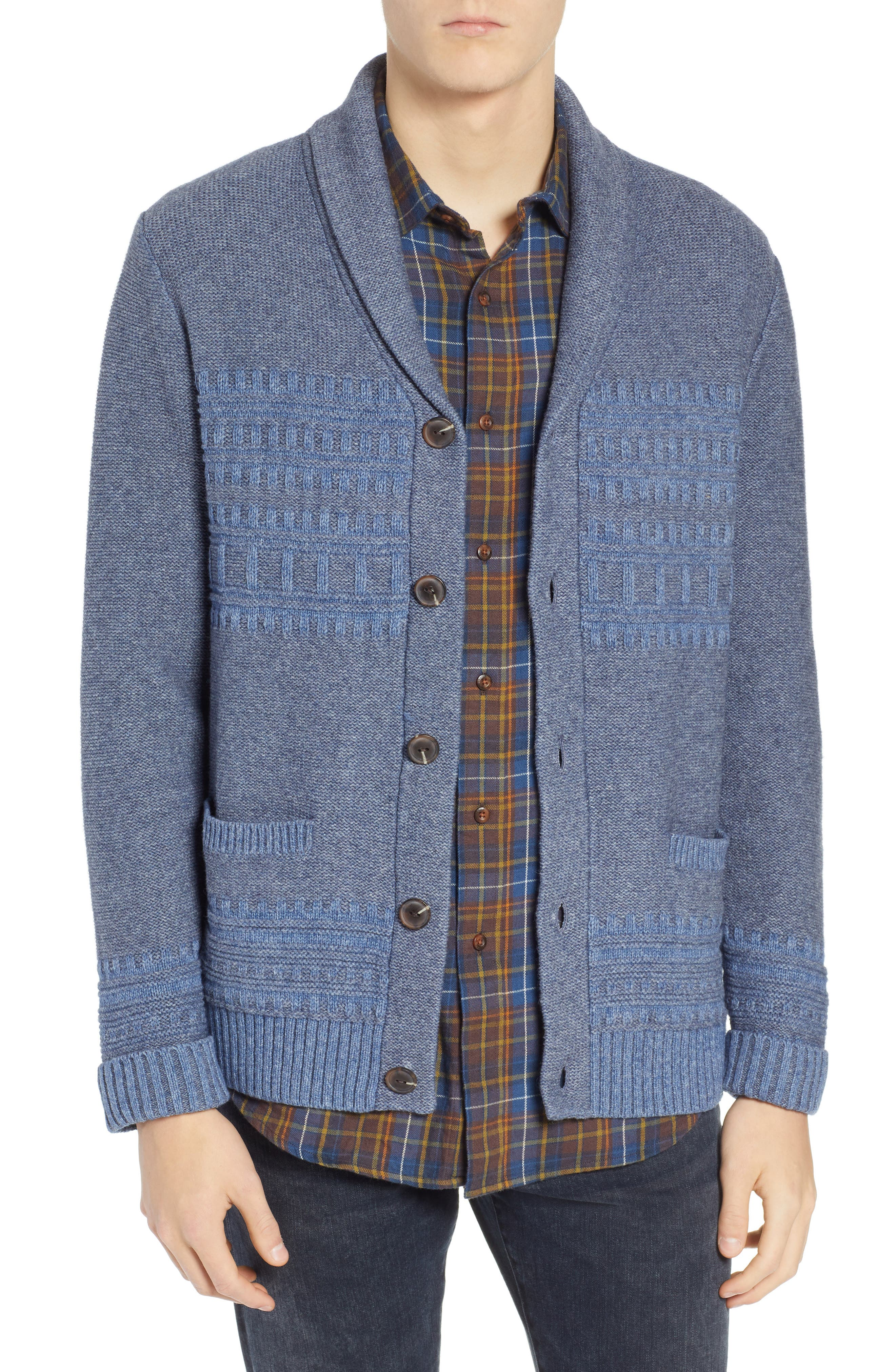 Bison Shawl Collar Sweater,                         Main,                         color, BLUE