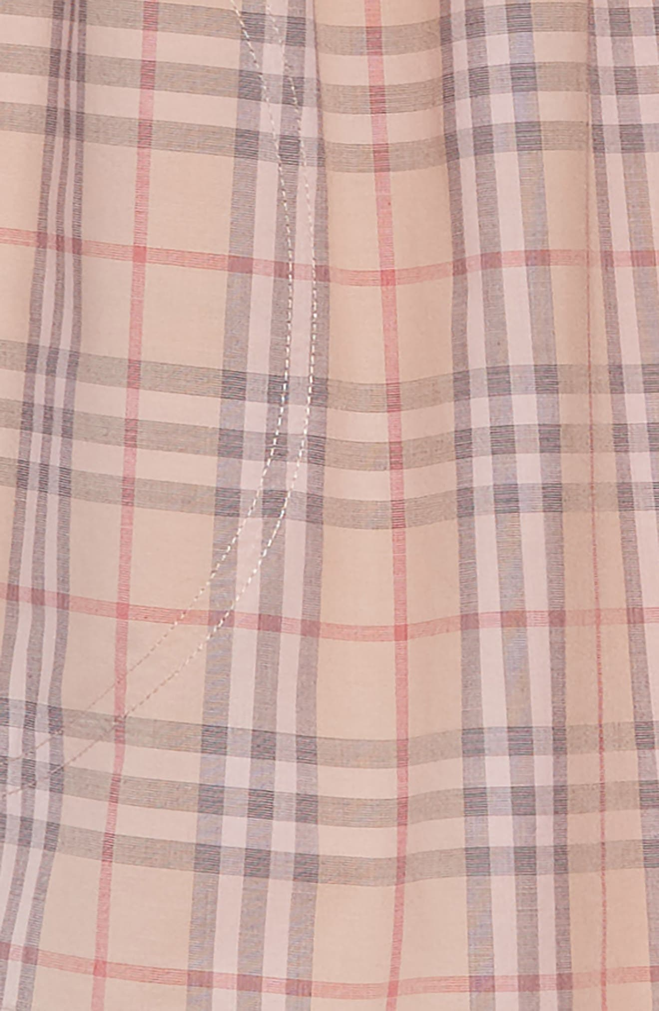 Mini Loralie Ruffle Detail Check Cotton Dress,                             Alternate thumbnail 3, color,                             PALE PINK