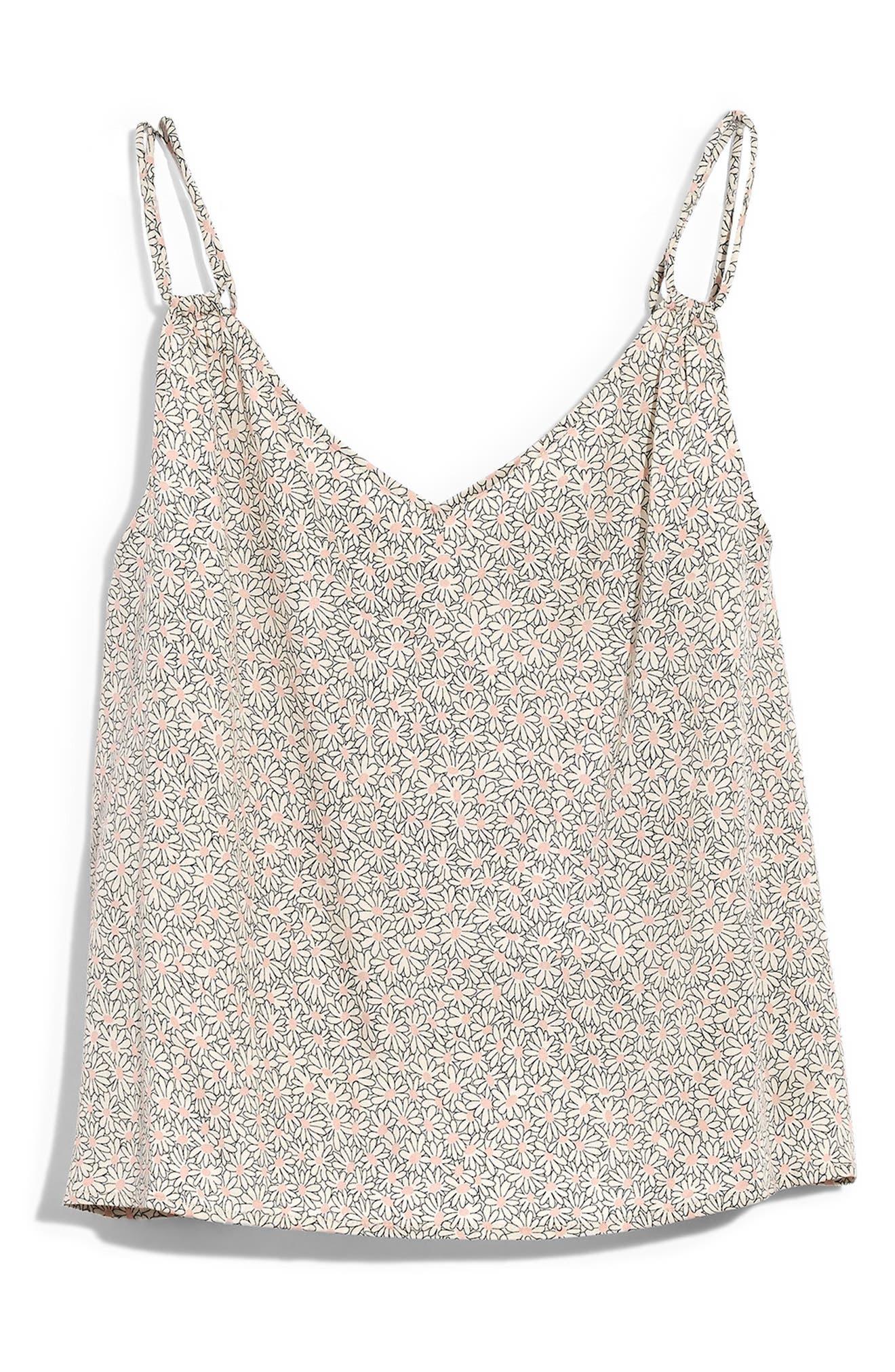 Madewell Daisy Patch Satin Pajama Camisole, Beige
