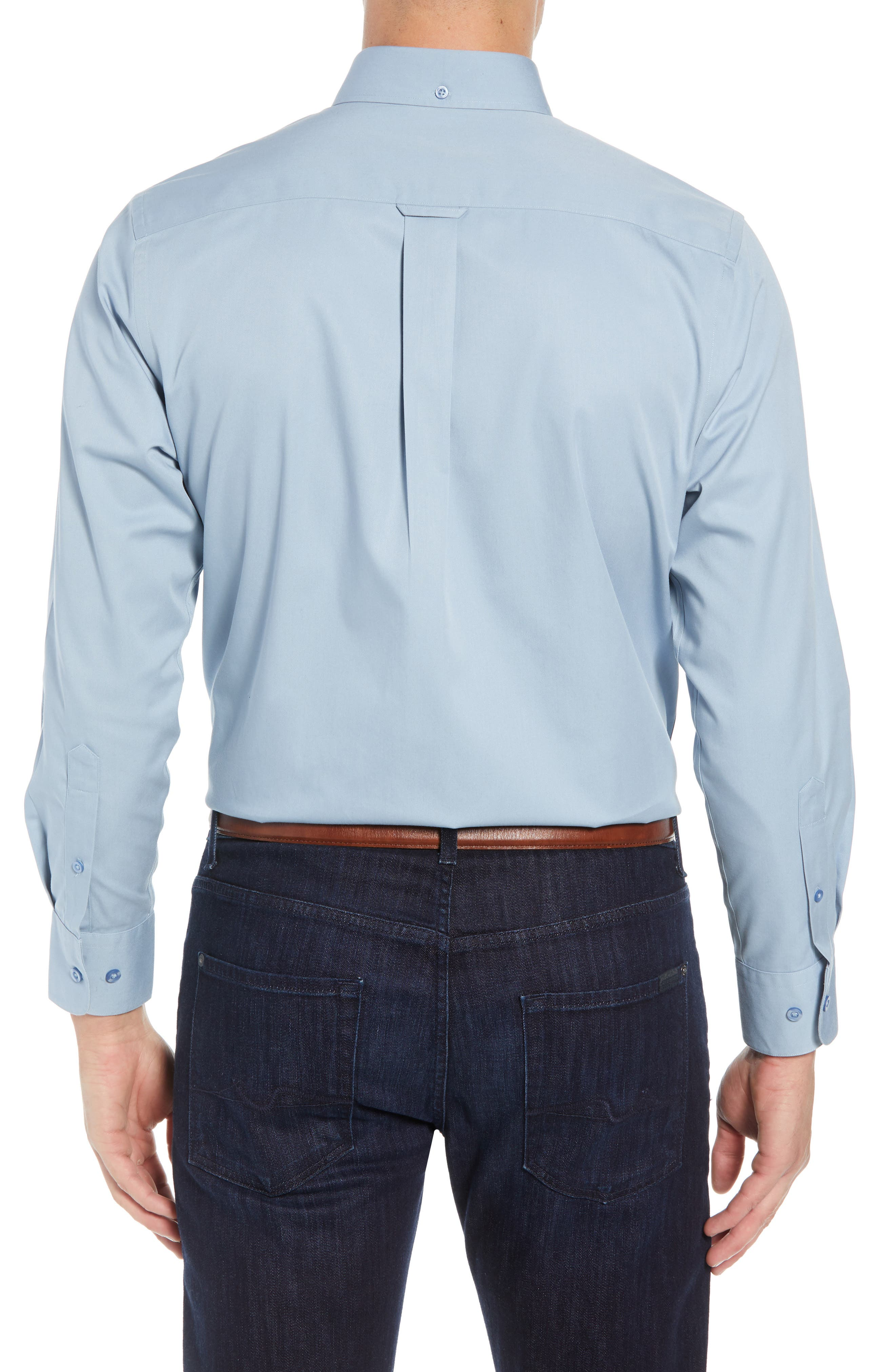 NORDSTROM MEN'S SHOP,                             Smartcare<sup>™</sup> Traditional Fit Twill Boat Shirt,                             Alternate thumbnail 2, color,                             BLUE DRIZZLE