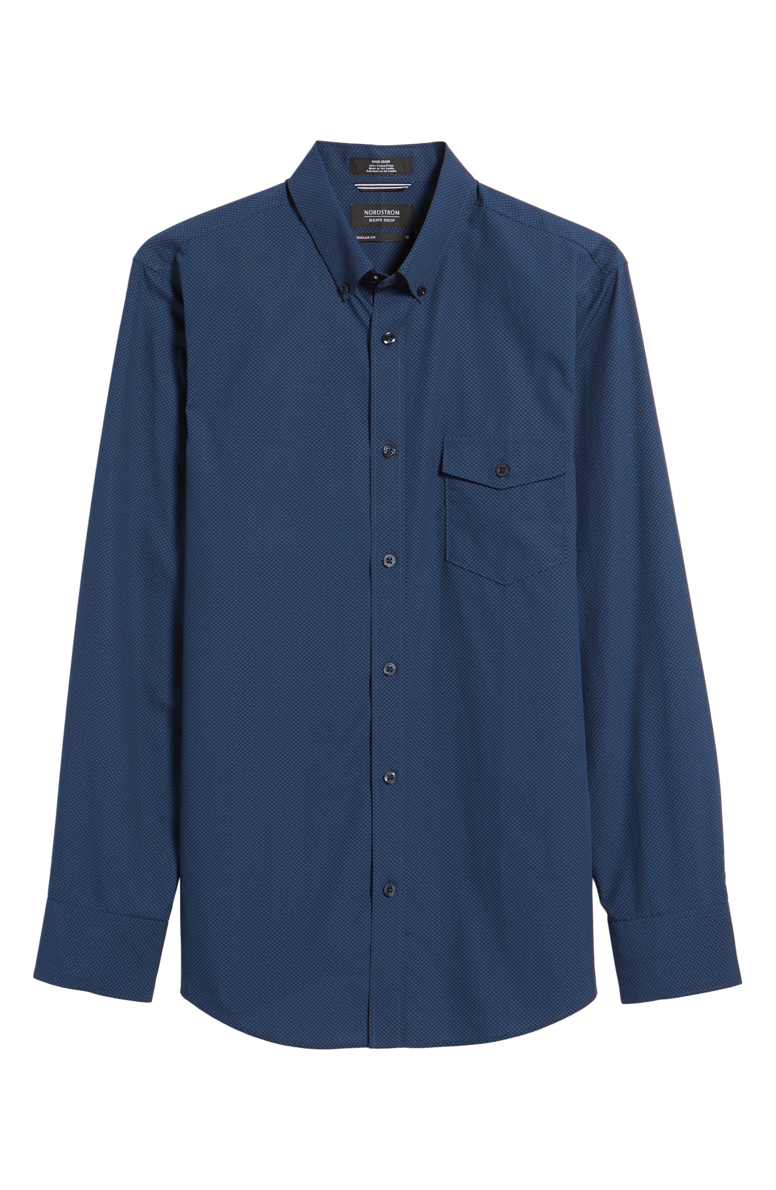 Regular Fit Non-Iron Diamond Print Sport Shirt,                             Alternate thumbnail 6, color,