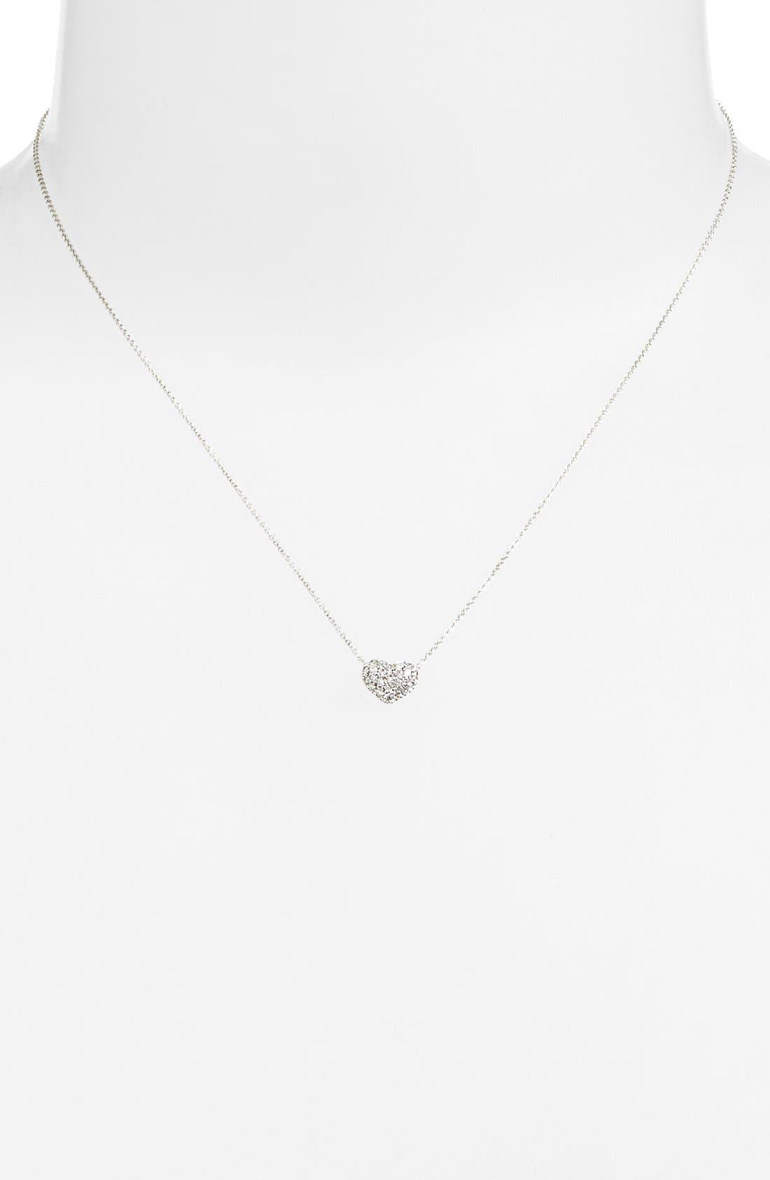 Diamond Pavé Heart Pendant Necklace,                             Alternate thumbnail 7, color,                             WHITE GOLD