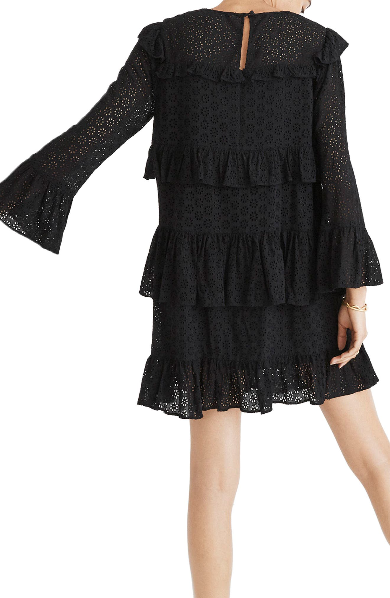 Waterlily Ruffle Eyelet Dress,                             Alternate thumbnail 2, color,                             001