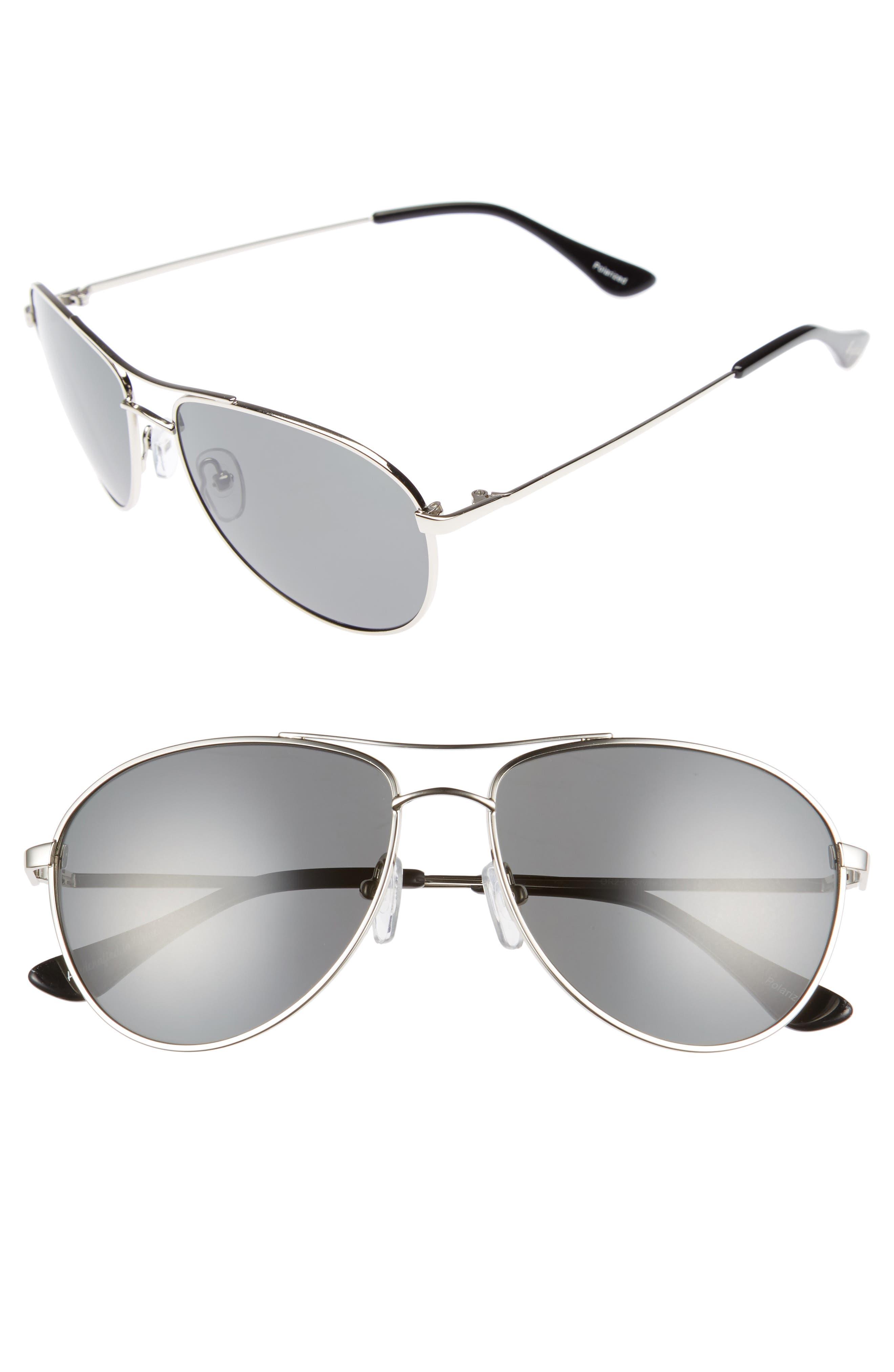Orville 58mm Polarized Aviator Sunglasses,                             Main thumbnail 1, color,