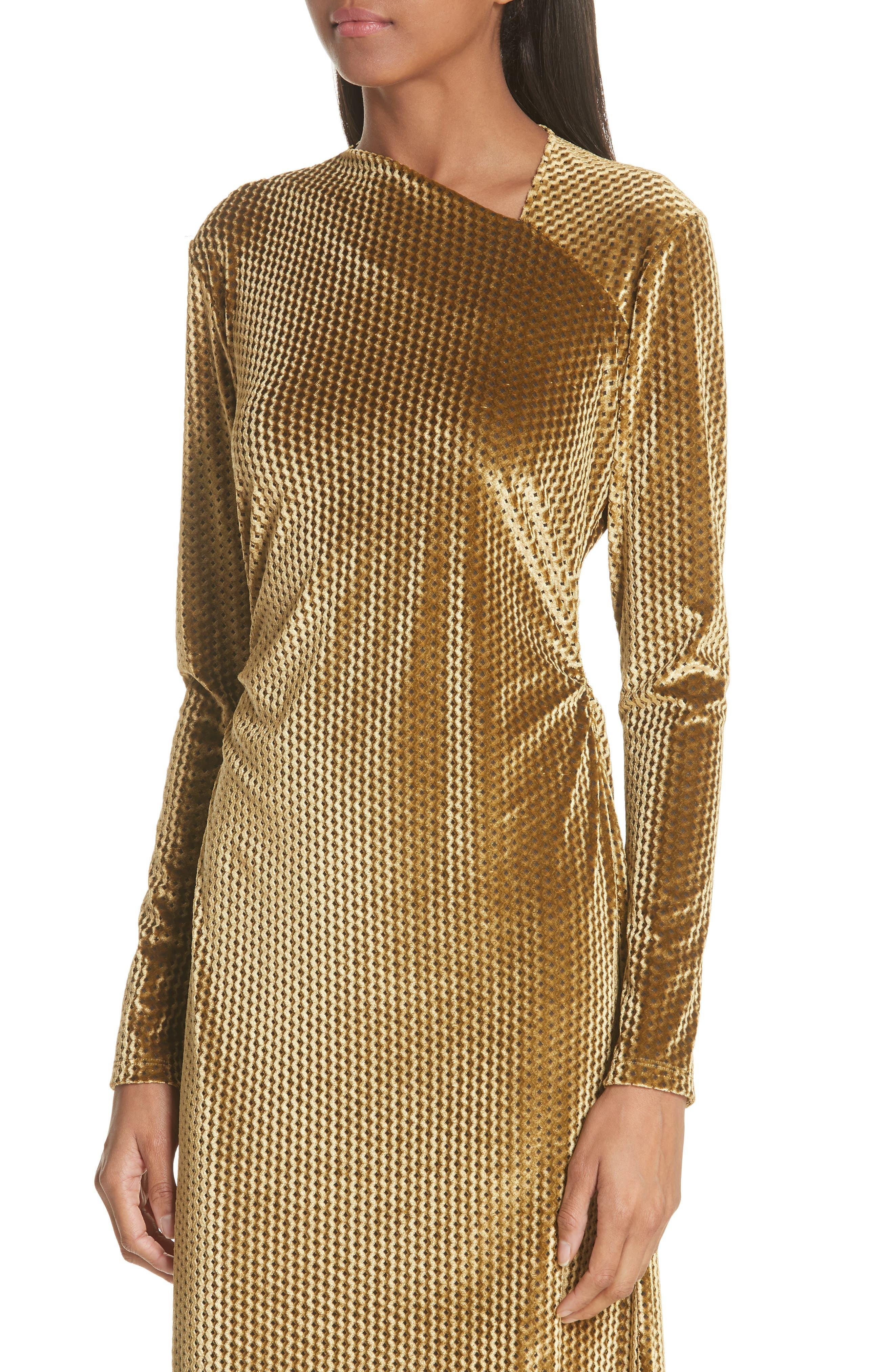 Ruched Velvet Jacquard Midi Dress,                             Alternate thumbnail 4, color,                             GOLD