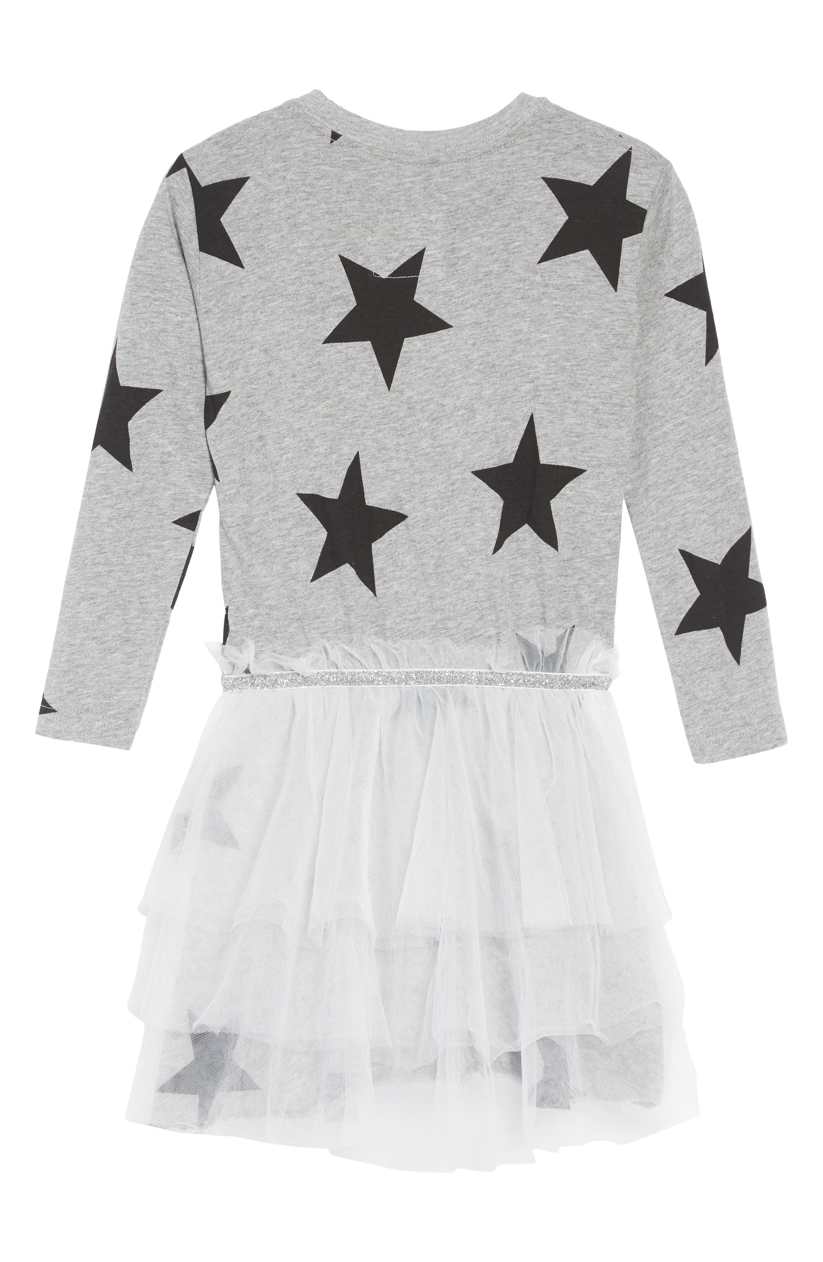 Star Tulle Dress,                             Alternate thumbnail 2, color,                             HEATHER GREY