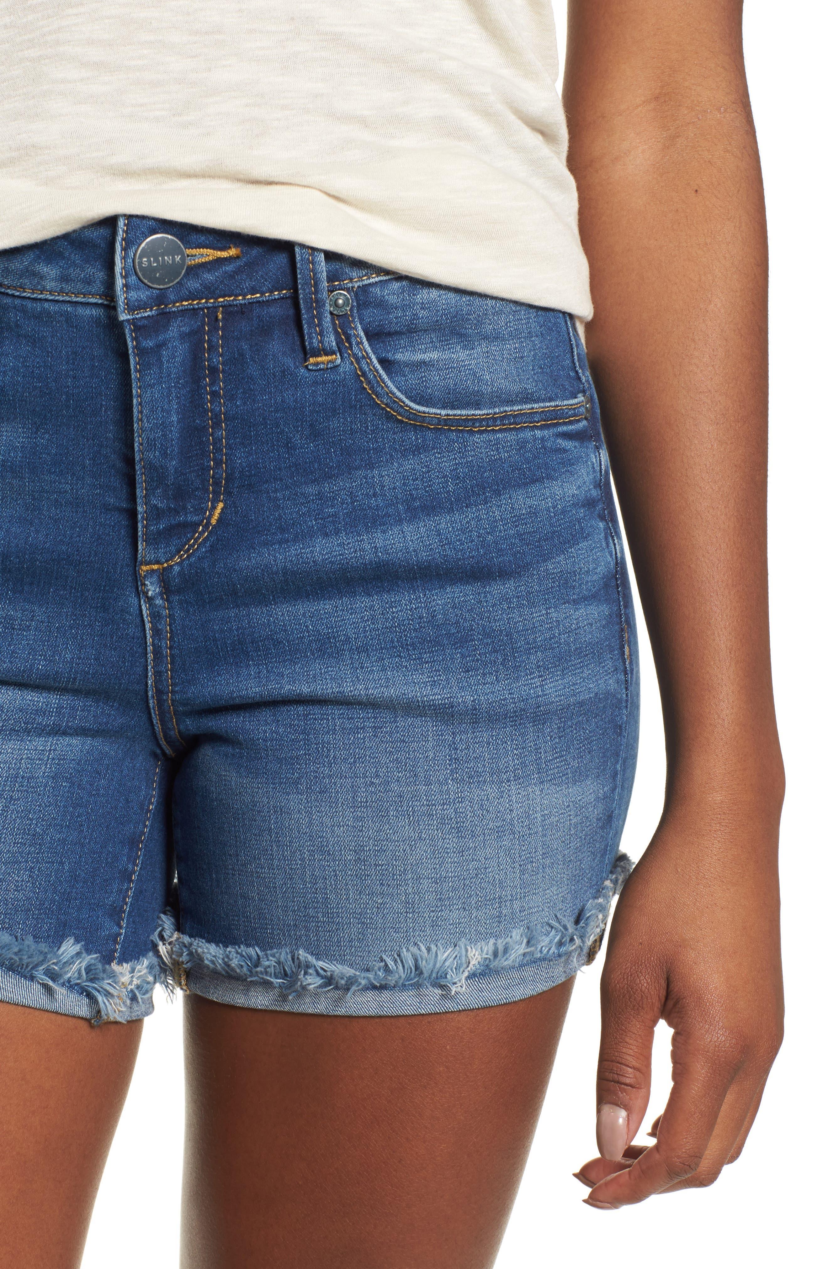 Frayed Denim Shorts,                             Alternate thumbnail 4, color,                             BIRDY