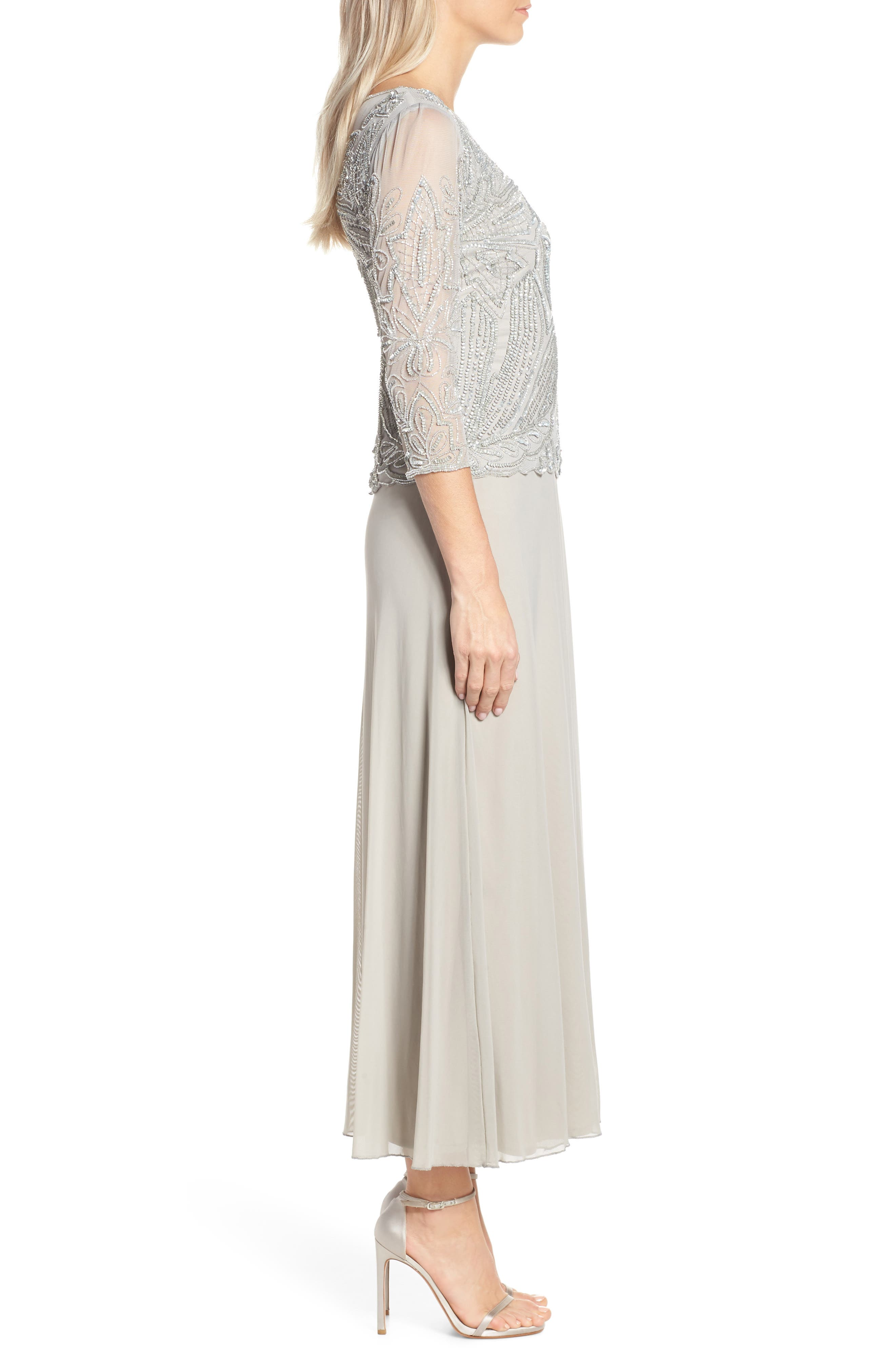 Embellished Mesh Gown,                             Alternate thumbnail 3, color,                             SILVER GREY