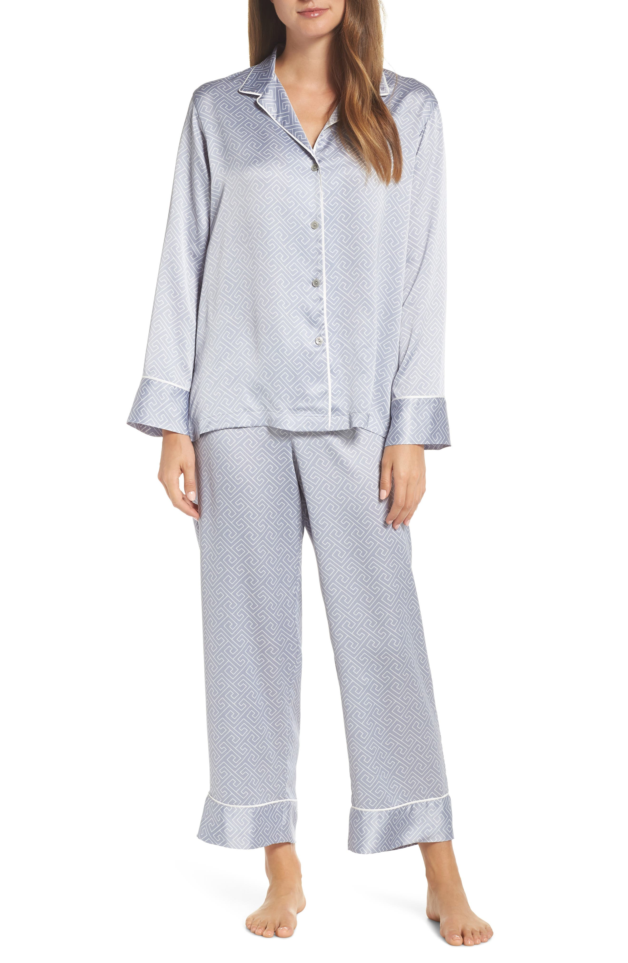 Labyrinth Satin Pajamas in Smoky Iris