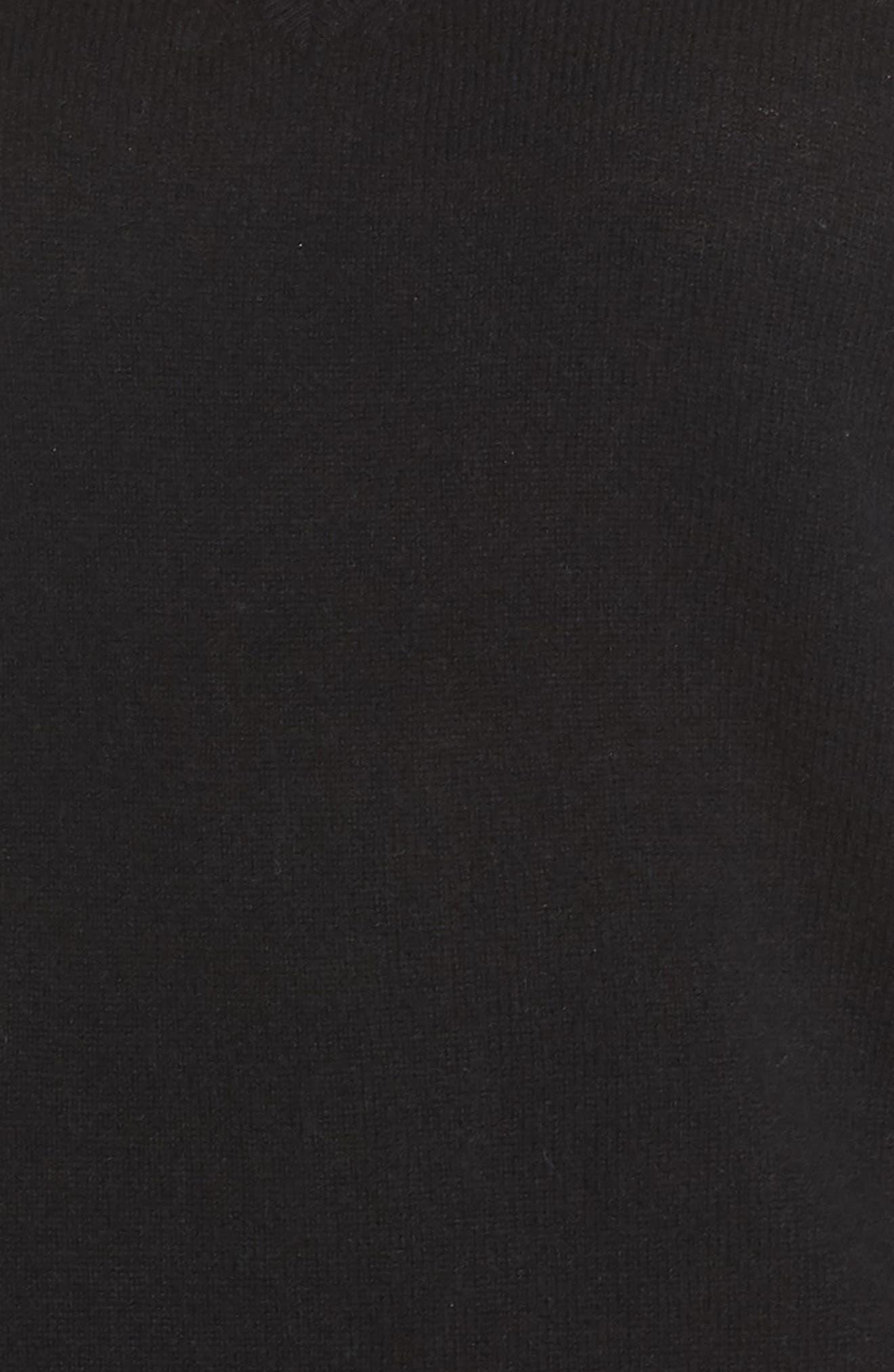 Wool & Cashmere Side Split Pullover,                             Alternate thumbnail 5, color,                             BLACK