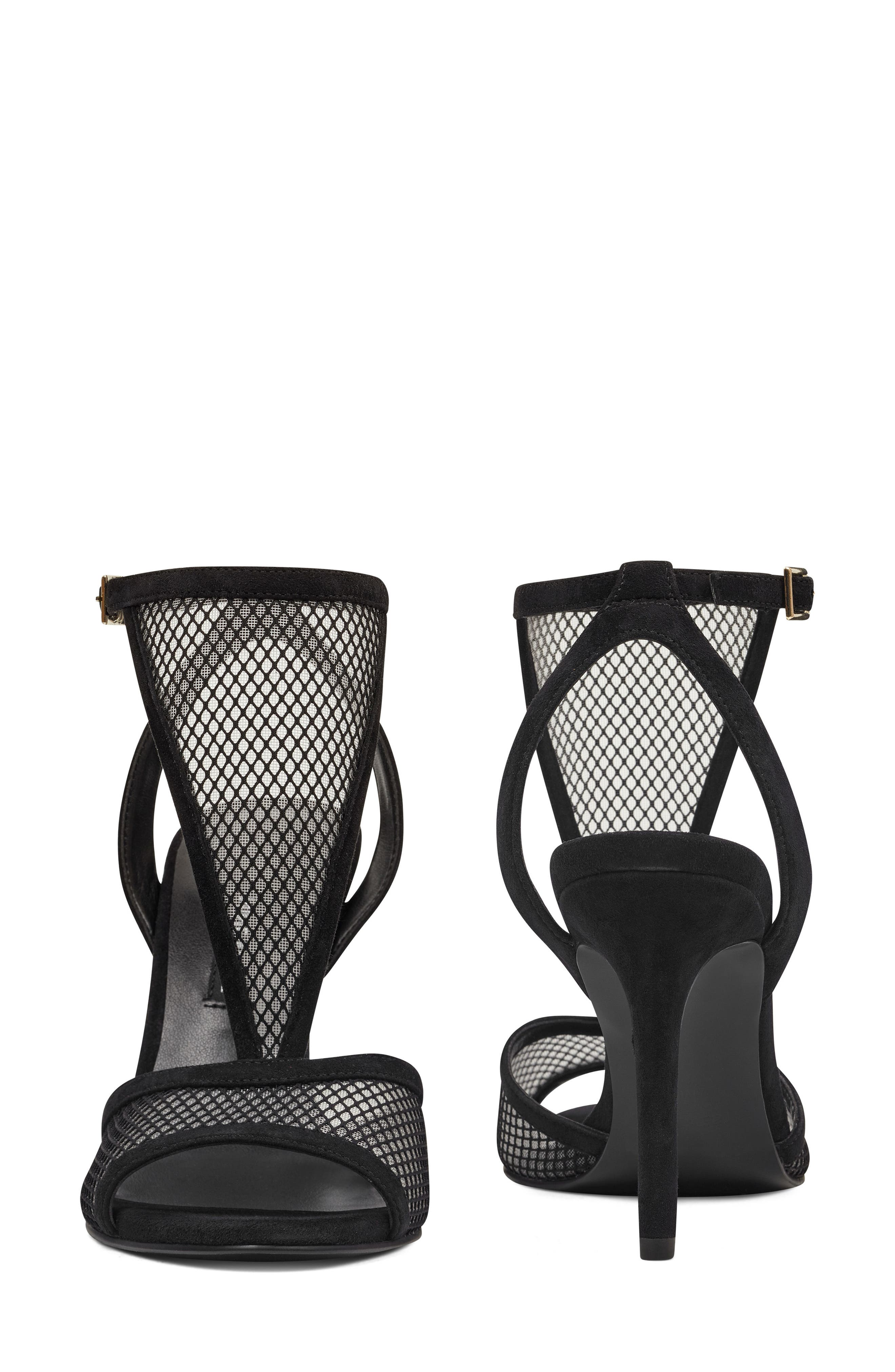 Manchon 2 Ankle Strap Sandal,                             Alternate thumbnail 8, color,                             BLACK STRETCH MESH/ LEATHER