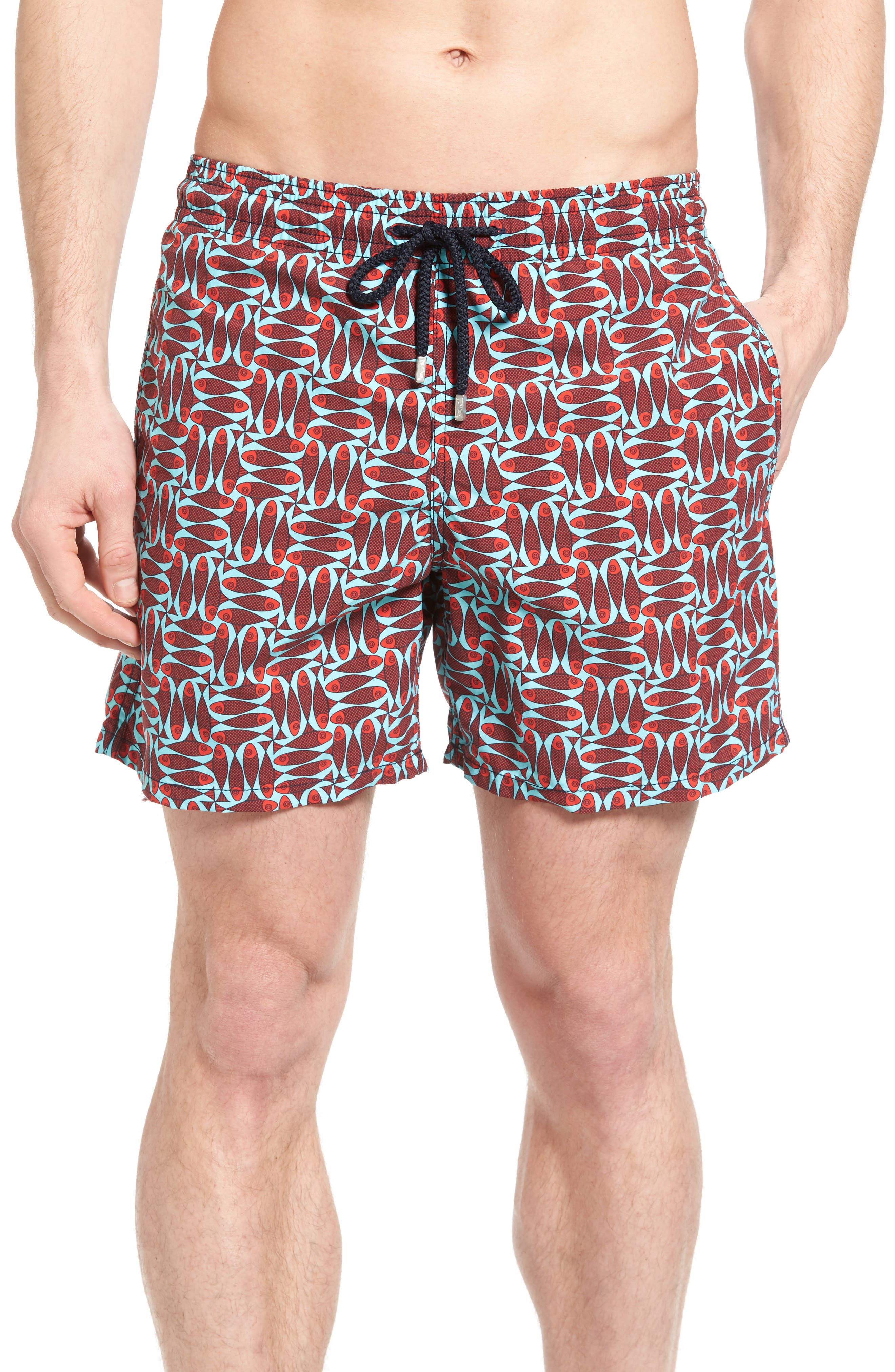 Check Fish Print Swim Trunks,                             Main thumbnail 1, color,                             POPPY RED