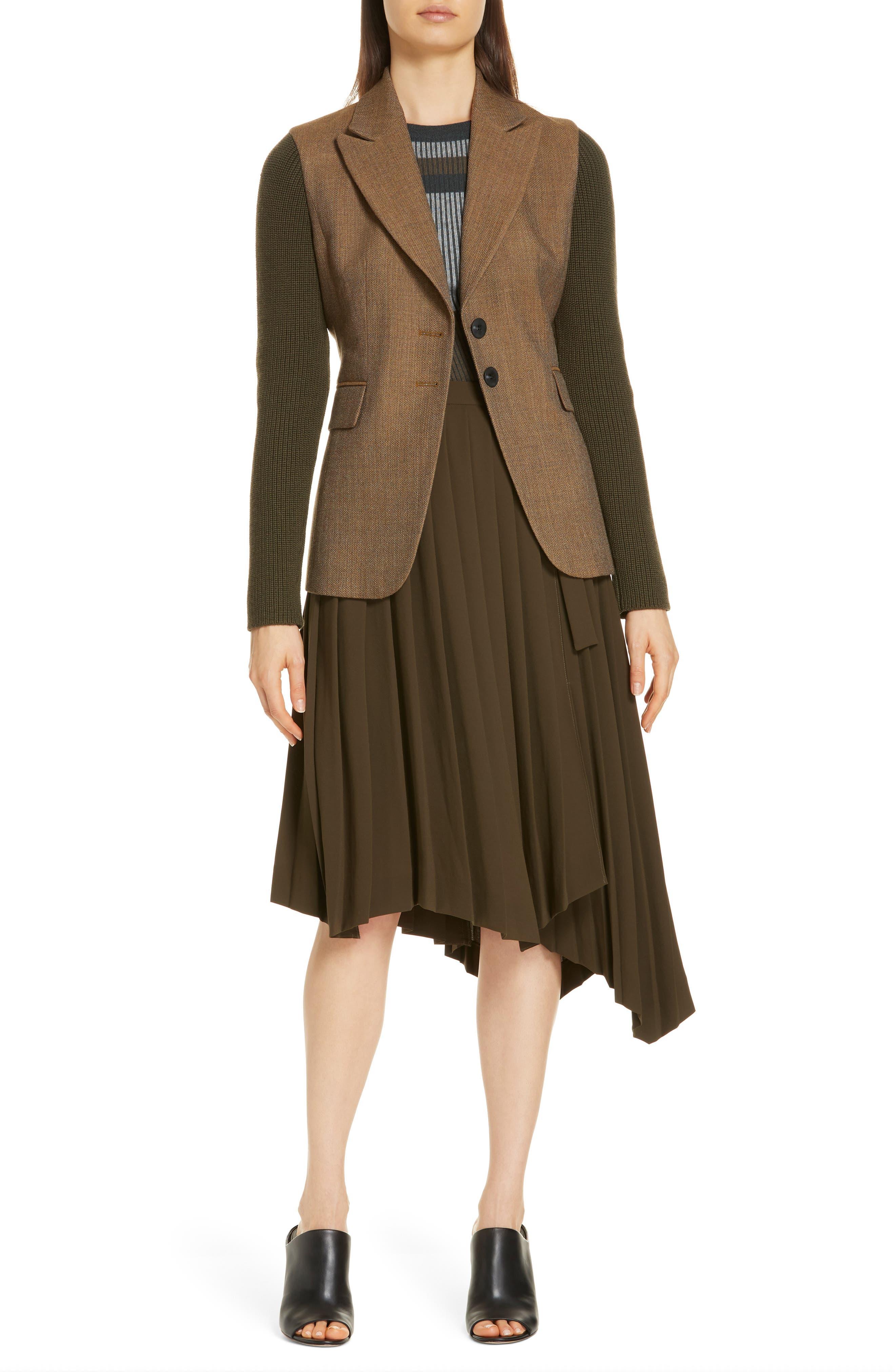 Asymmetrical Pleat A-Line Skirt,                             Alternate thumbnail 7, color,                             OLIVE TUSCAN