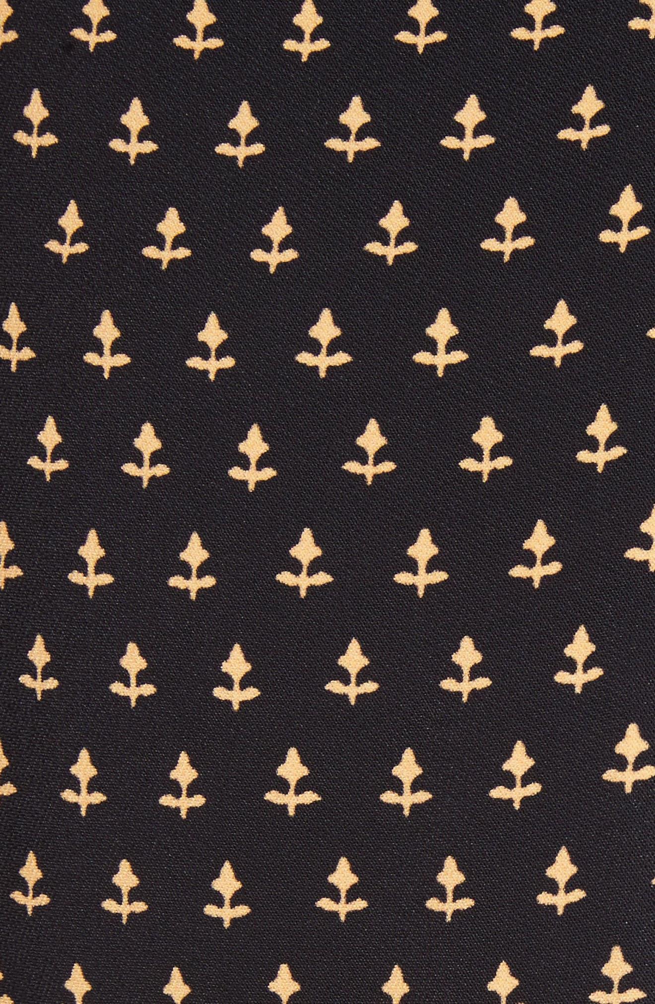 Mixed Print Crepe Midi Skirt,                             Alternate thumbnail 5, color,                             BLACK/ TAN FLOWER