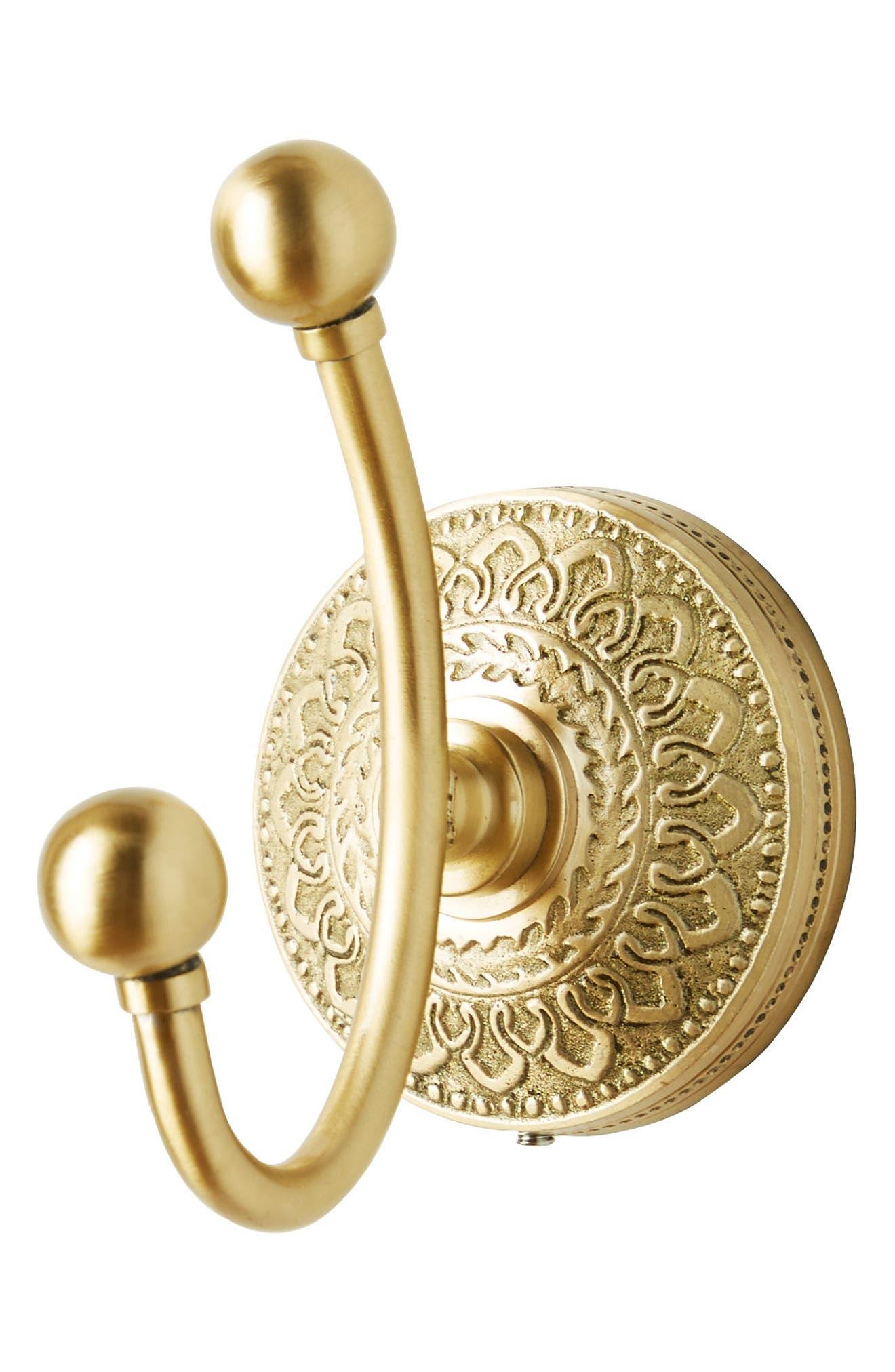 Brass Medallion Hook,                             Alternate thumbnail 4, color,                             HONEY